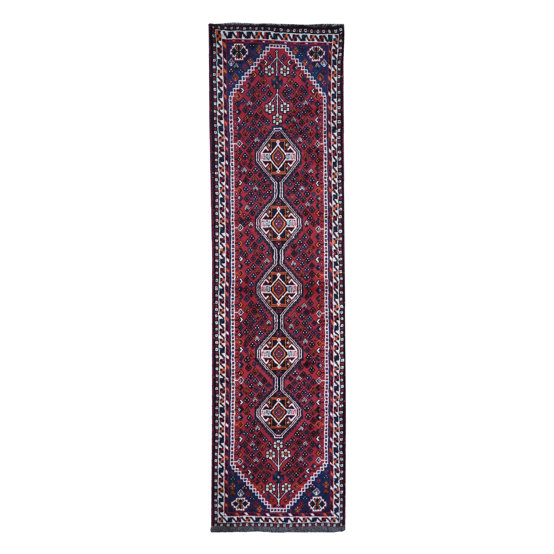 "2'6""x9'7"" New Persian Shiraz Runner Serrated Medallion Organic Wool Hand Woven Oriental Rug"