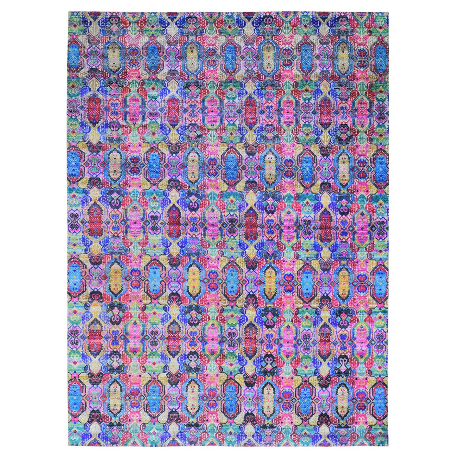 "8'10""x12' Colorful Jewellery Design Sari Silk with Textured Wool Hand Woven Oriental Rug"