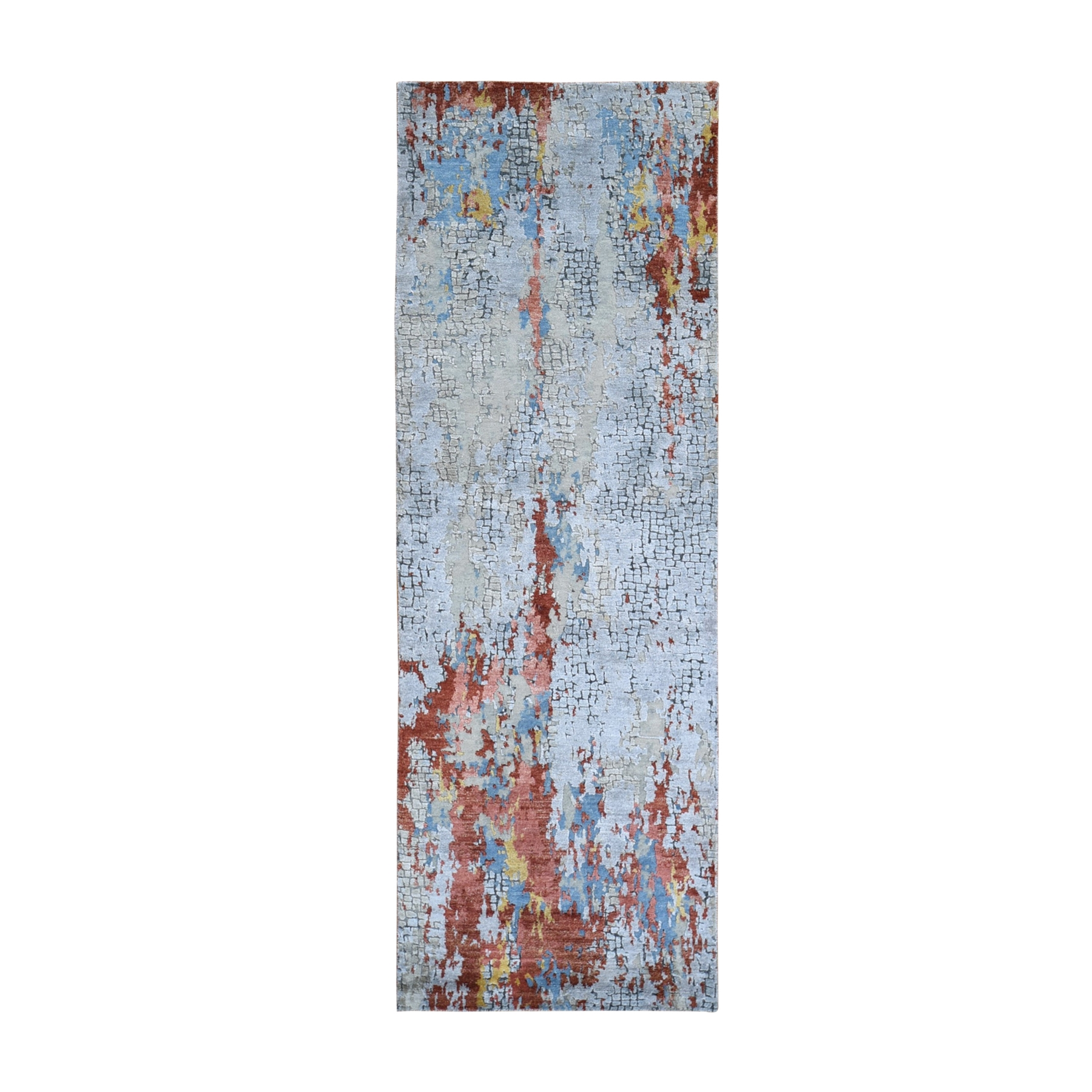 "2'7""x7'8"" Wool and Silk Abstract with Fire Mosaic Design Hand Woven Runner Oriental Rug"