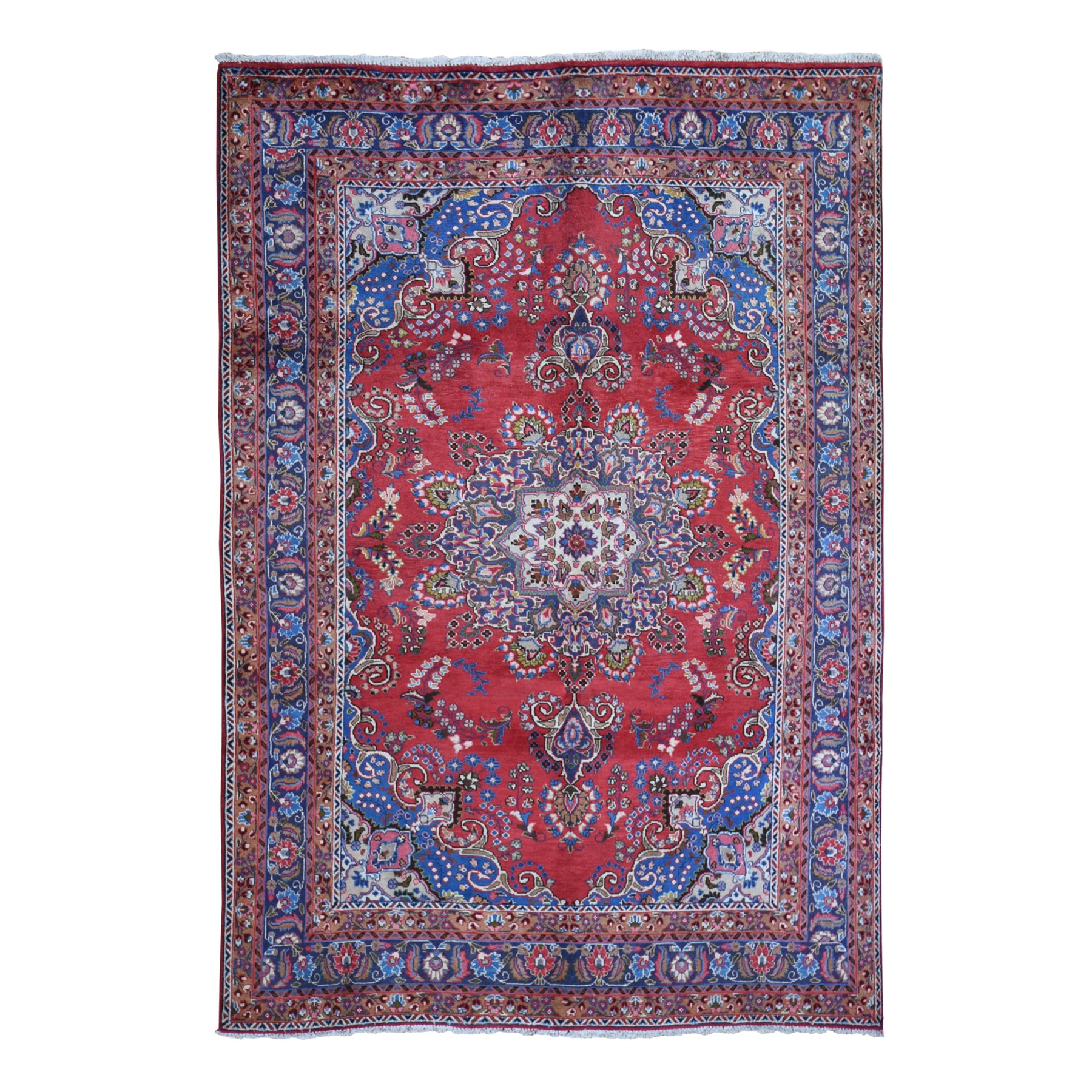 "6'6""x9'5"" Vintage Persian Tabriz Excellent Condition Full Pile Soft Hand Woven Oriental Rug"