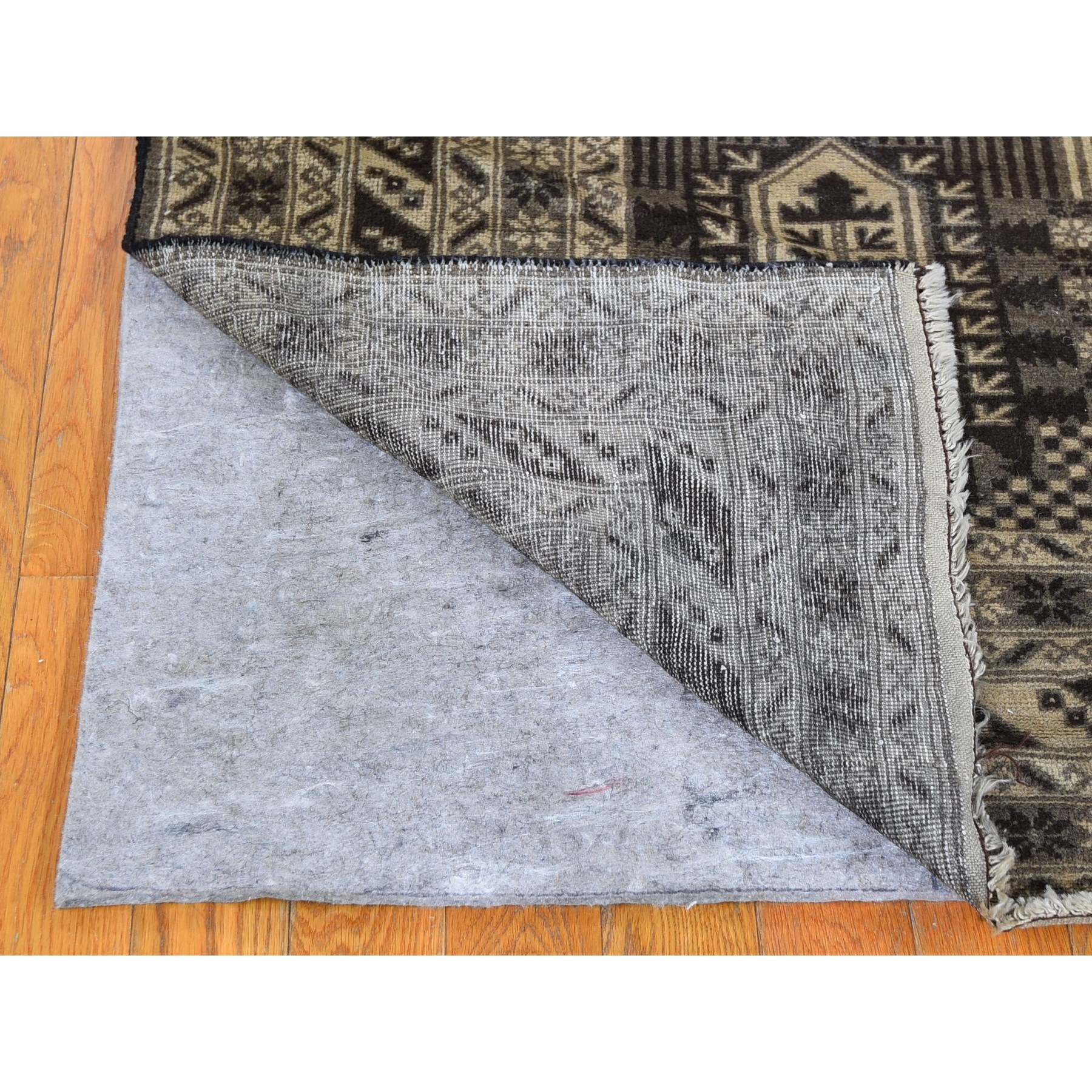 6'x10' Wash and Vintage Afghan Baluch Natural Color Pure Wool Hand Woven Oriental Rug
