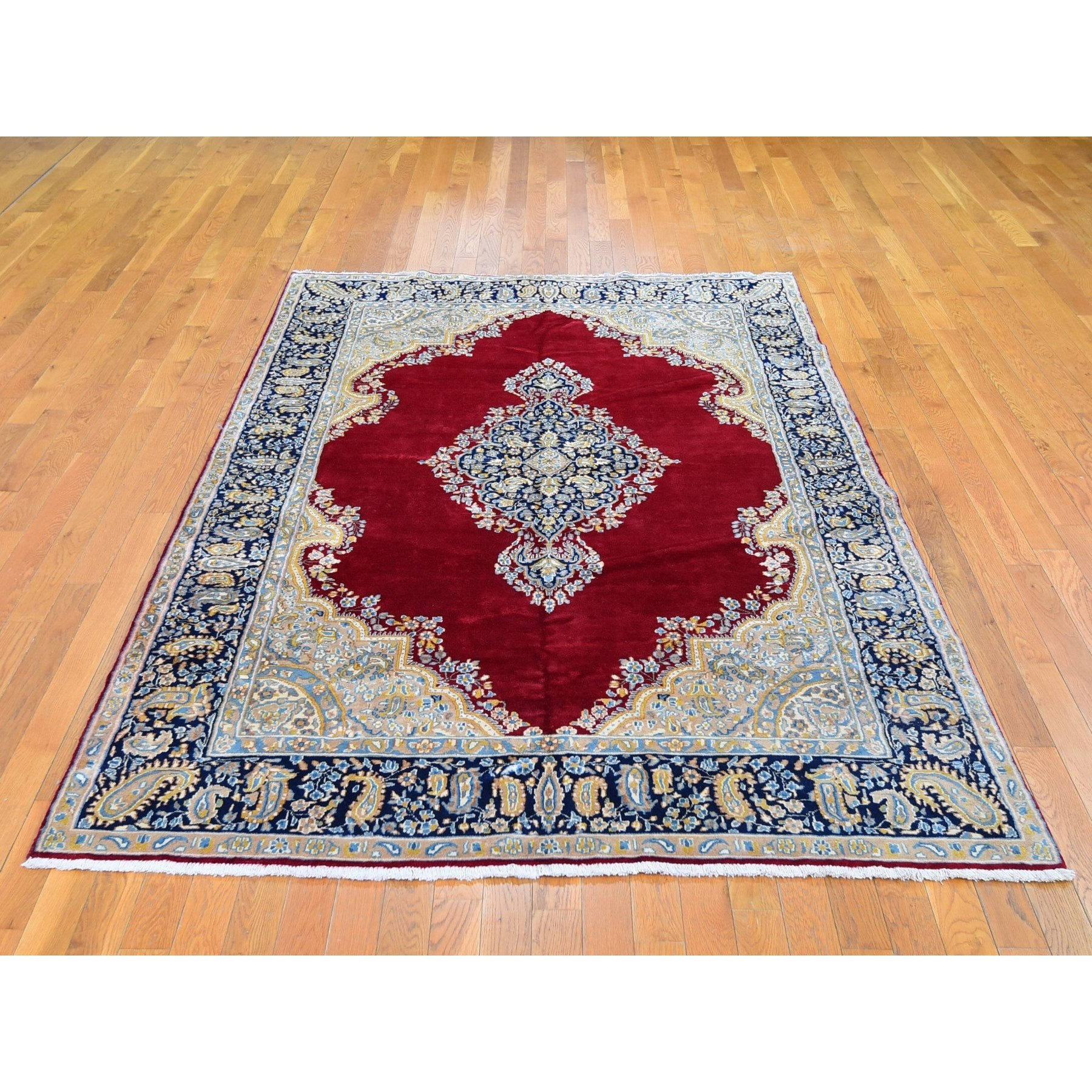 "5'10""x9'2"" Red Vintage Persian Kerman Medallion Open Field Pure Wool One From a Pair Hand Woven Oriental Rug"