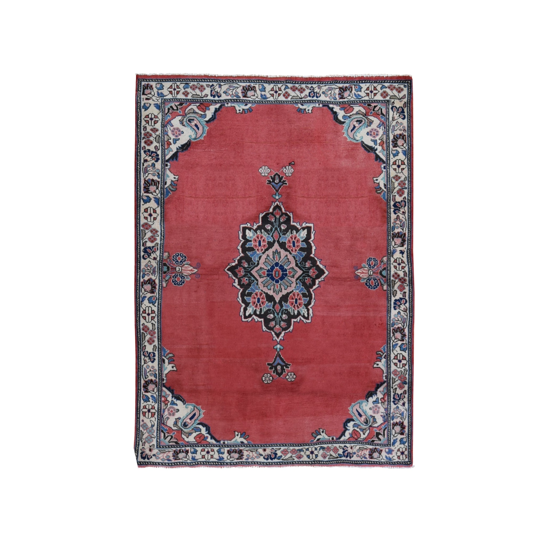 "4'4""x6' Red New Persian Mahal Medallion Open Field Pure Wool Hand Woven Oriental Rug"