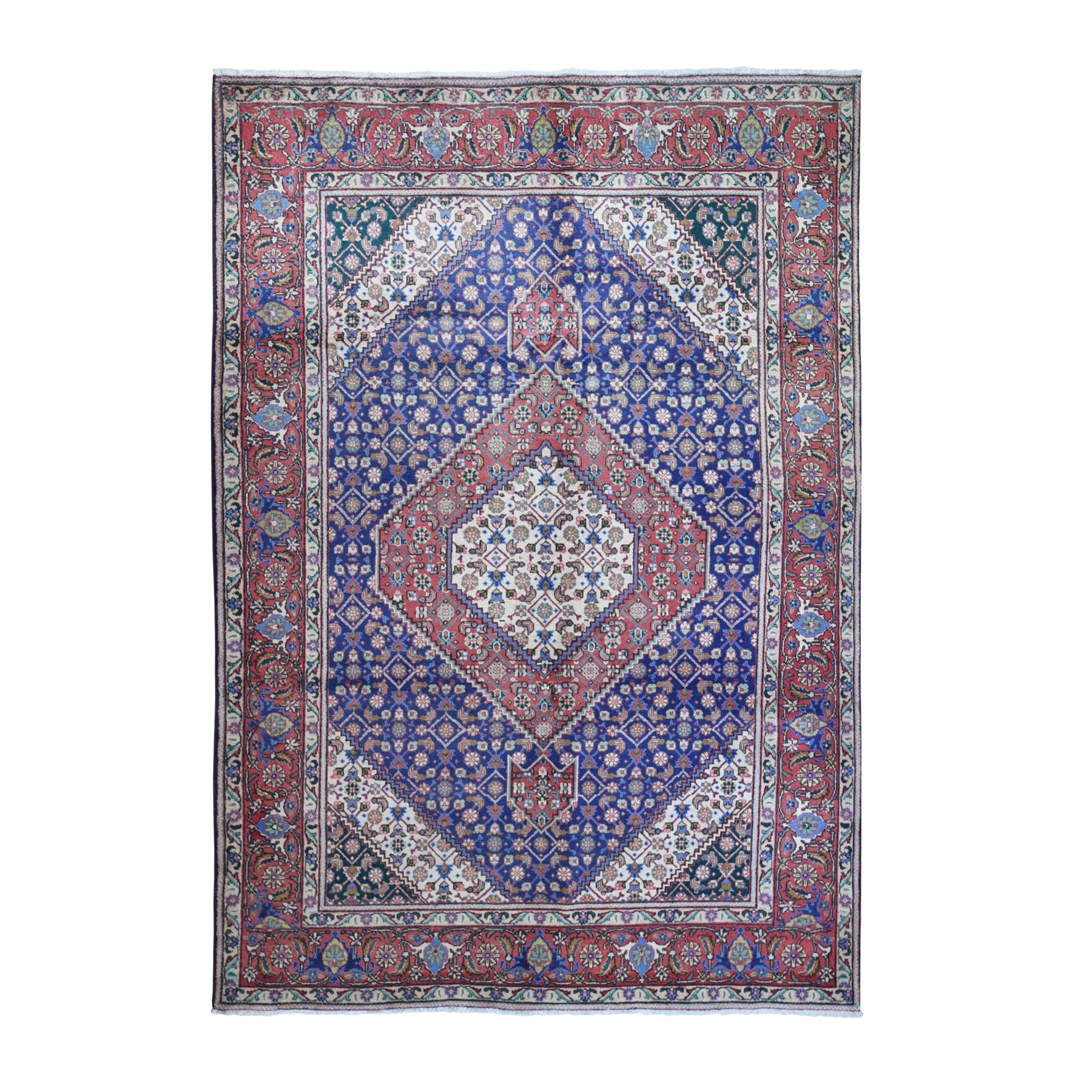 "6'7""x9'6"" Blue Vintage Persian Tabriz Fish Mahi Design Natural Wool Excellent Condition Hand Woven Oriental Rug"