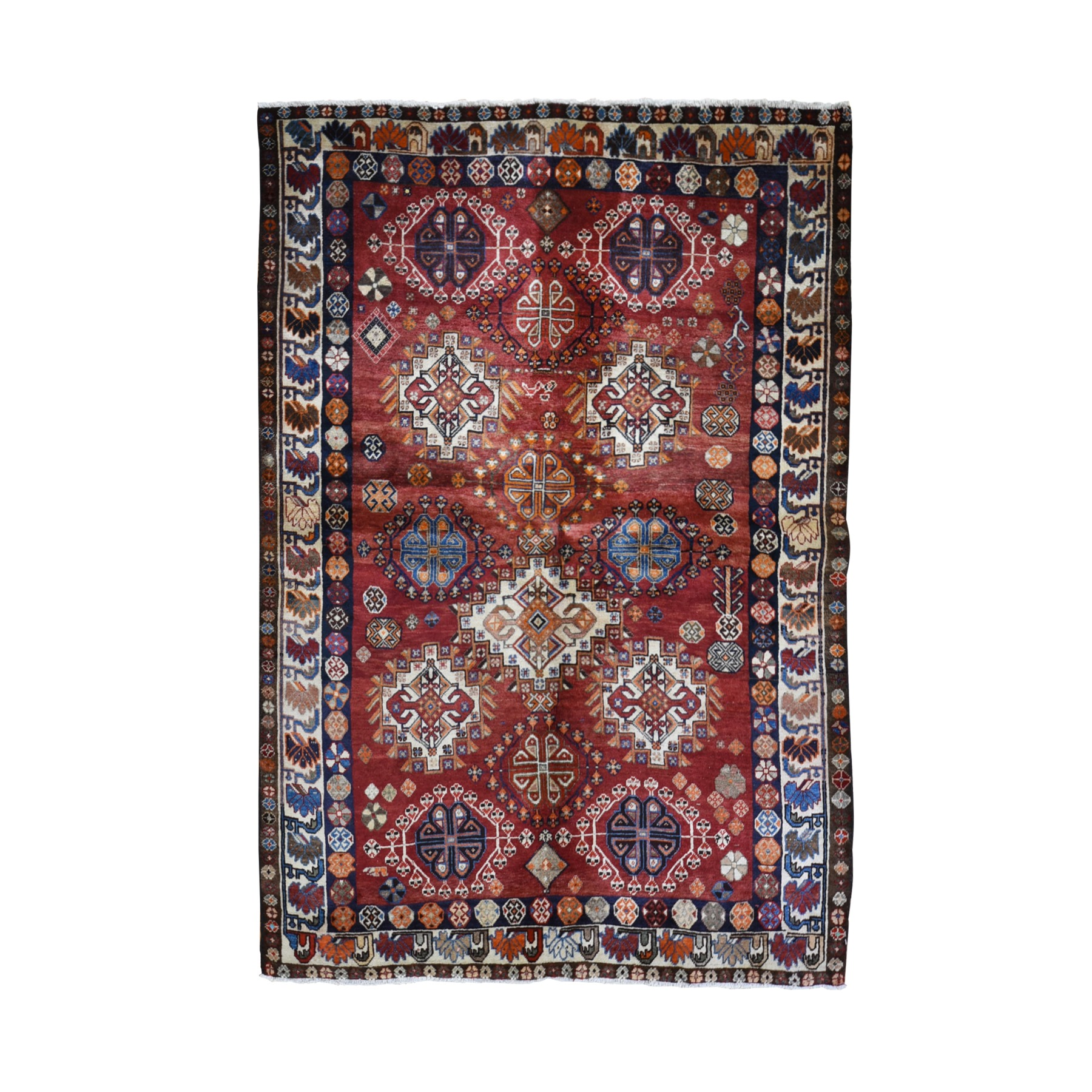 "5'7""x7'10"" Vintage Persian Shiraz All Over Medallion Design Orange Pure Wool Hand Woven Oriental Rug"