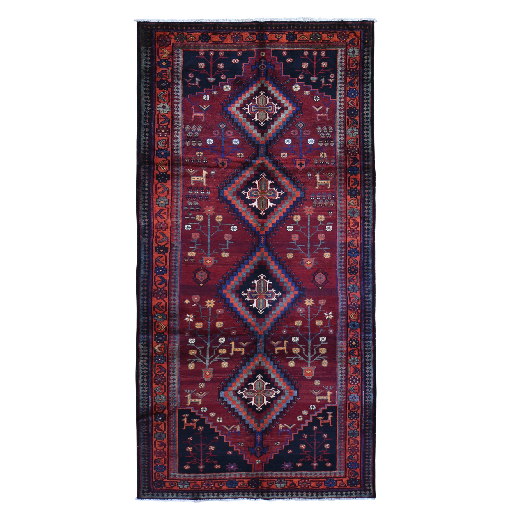 "5'4""x10'5"" Saturated Red Animal Figurines Wide and Long Persian Hamadan Hand Woven Organic Wool Oriental Rug"