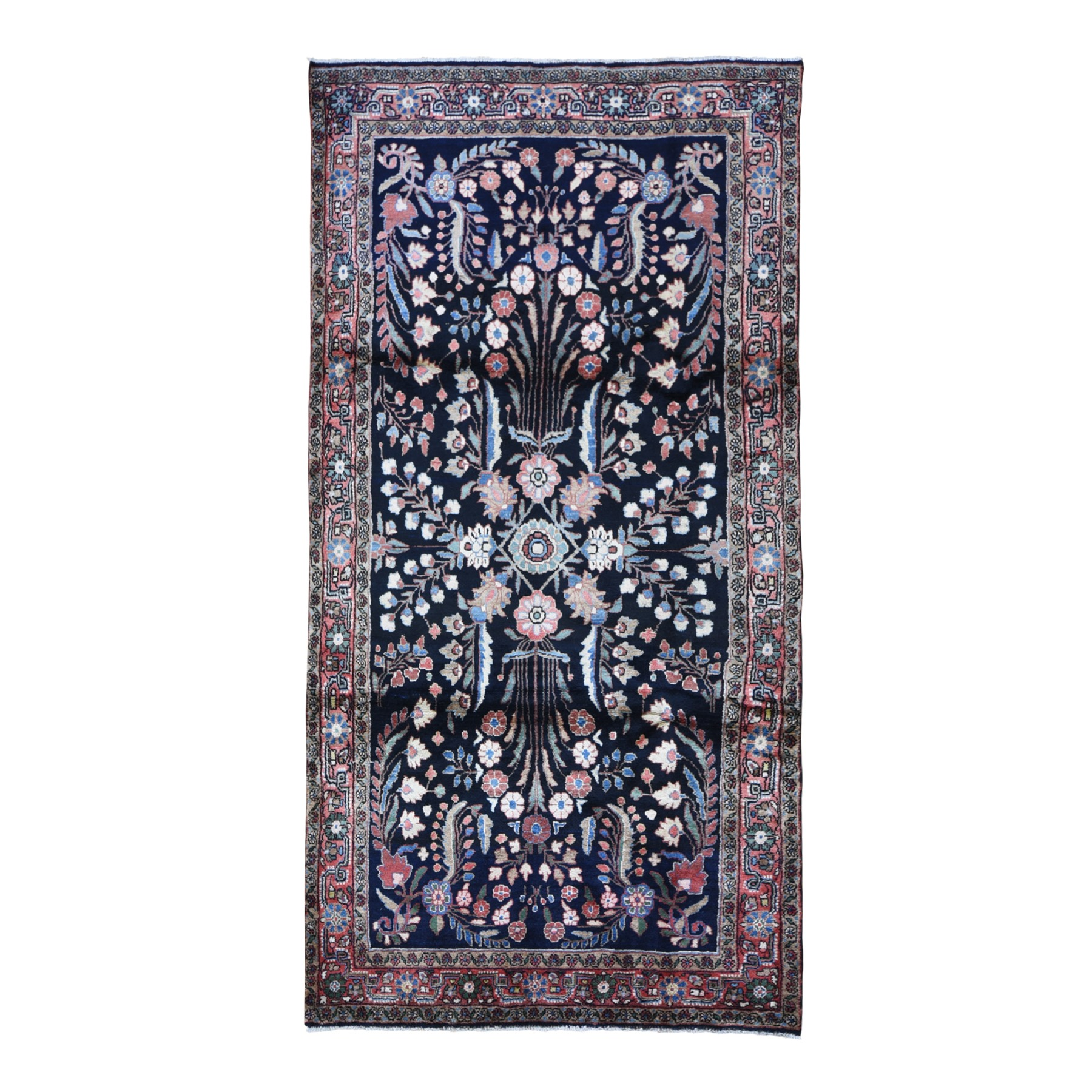 "4'8""x9'5"" Navy Blue Vintage Persian Lilihan Wide and Long Natural Wool Hand Woven Oriental Rug"