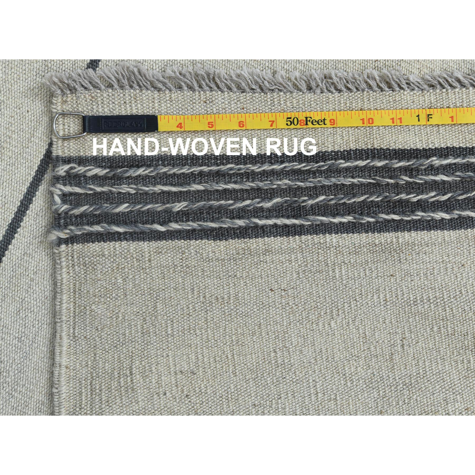 "12'5""x14'10"" Flat Weave Avant-Garde Stripe Design Kilim Pure Wool Hand Woven Reversible Over Size Oriental Rug"