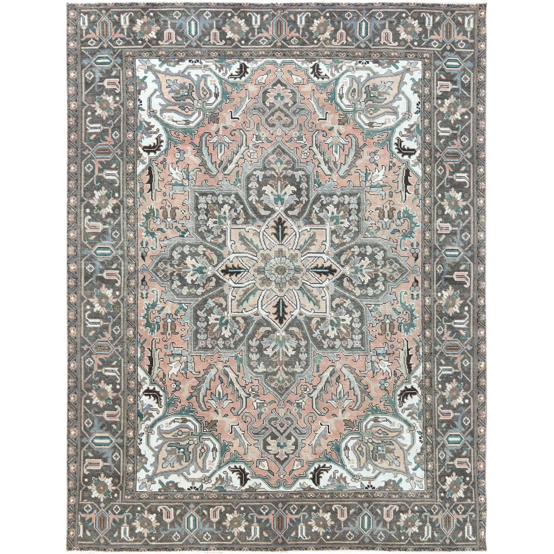 "8'3""x10'10"" Semi Antique Pink Color Flower Design Persian Heriz Pure Wool Clean Hand Woven Oriental Rug"