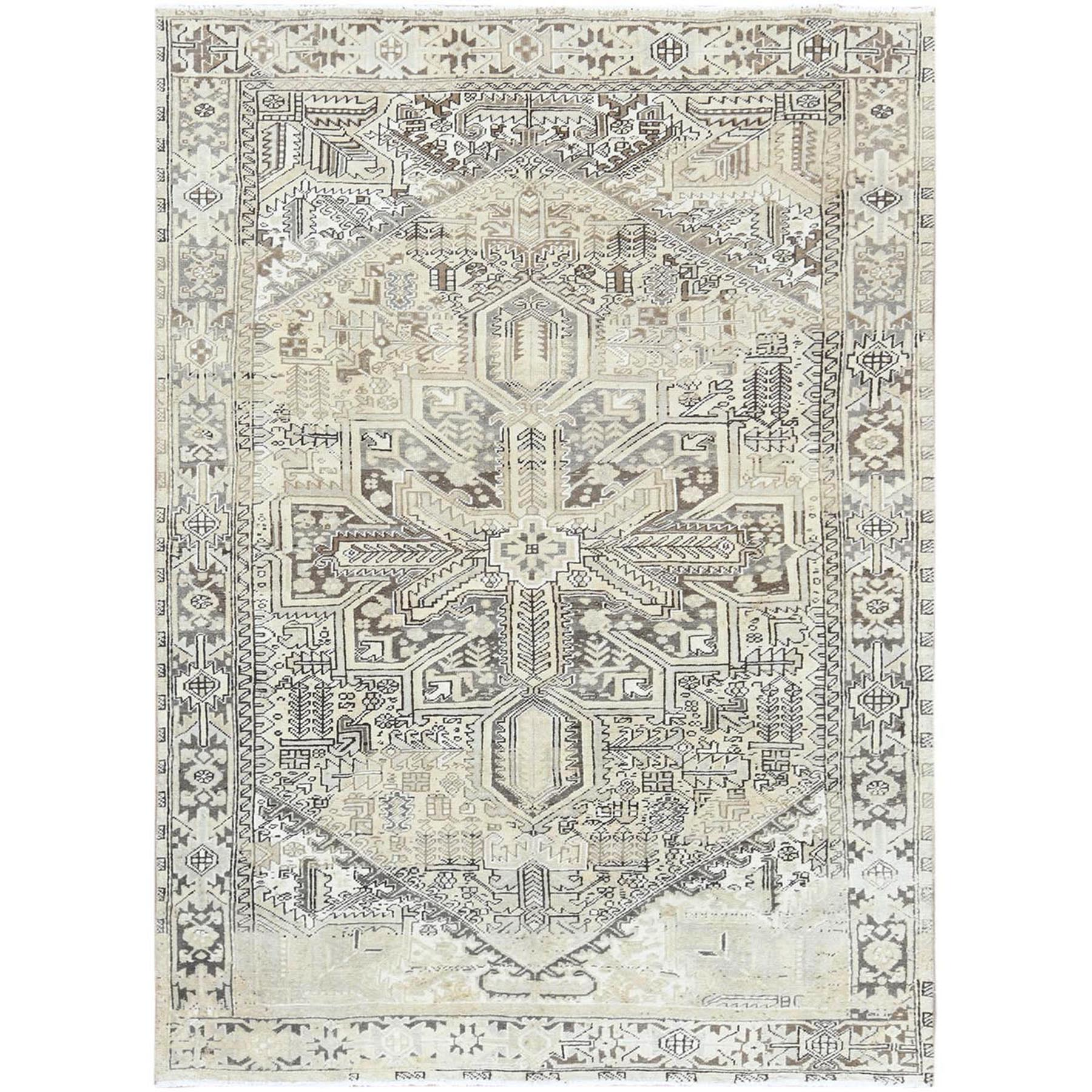 "7'8""x10'6"" Semi Antique Washed Out With Abrash Persian Heriz Clean Hand Woven Organic Wool Oriental Rug"
