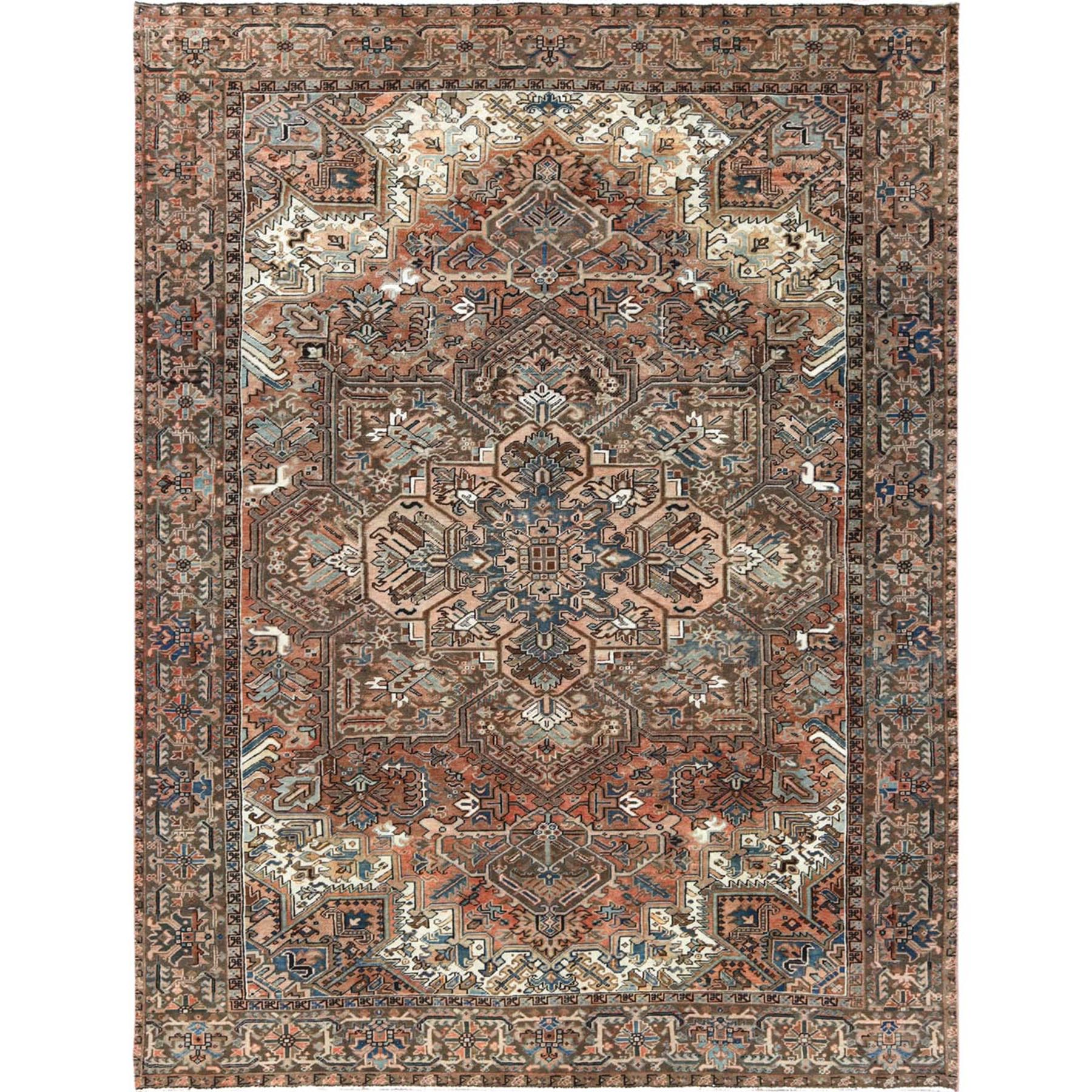 "8'10""x11'8"" Semi Antique Rust Red With Sunset Colors Persian Heriz Clean Pure Wool Hand Woven Oriental Rug"