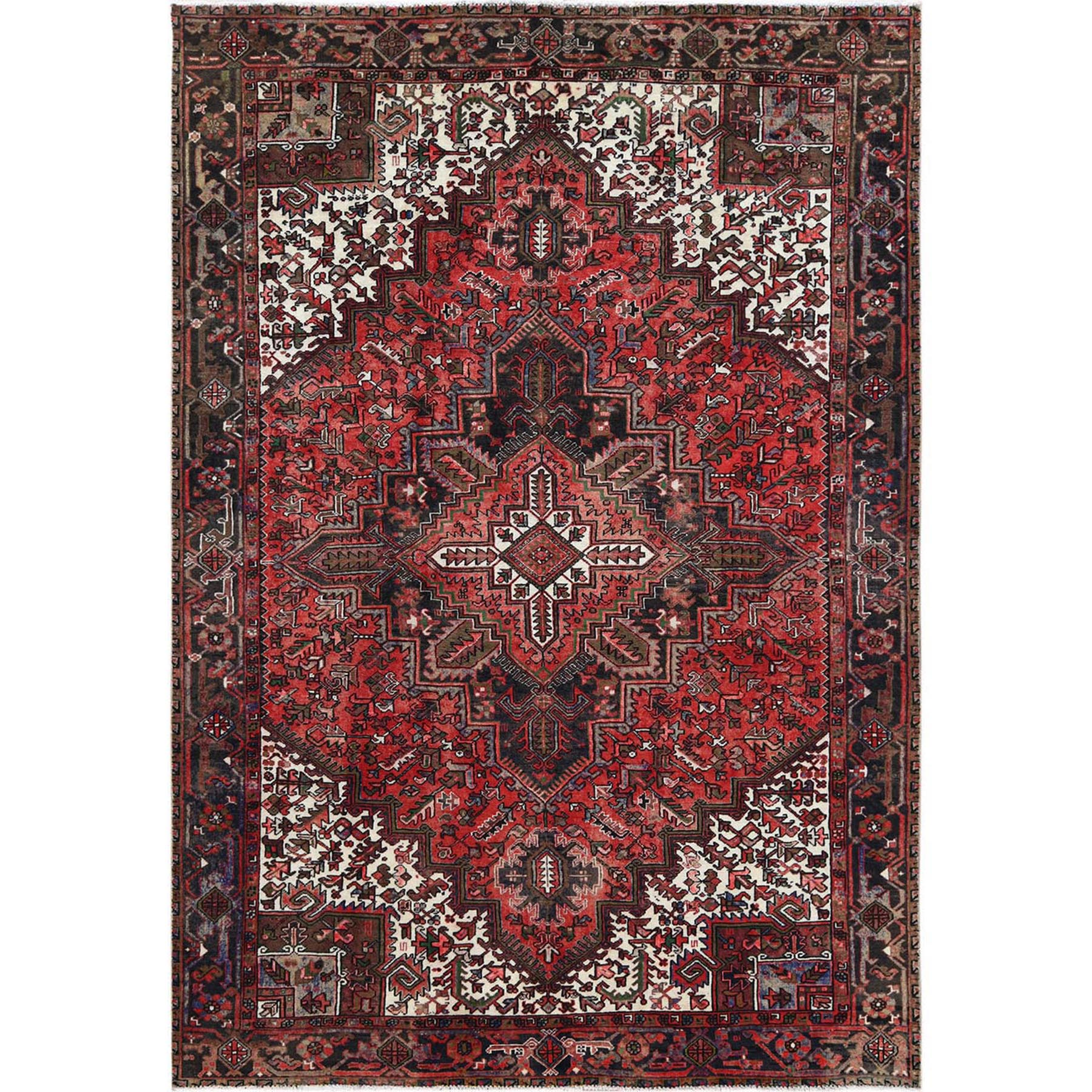 "8'2""x11'1"" Tomato Red Vintage Persian Heriz Organic Wool Clean Hand Woven Oriental Rug"