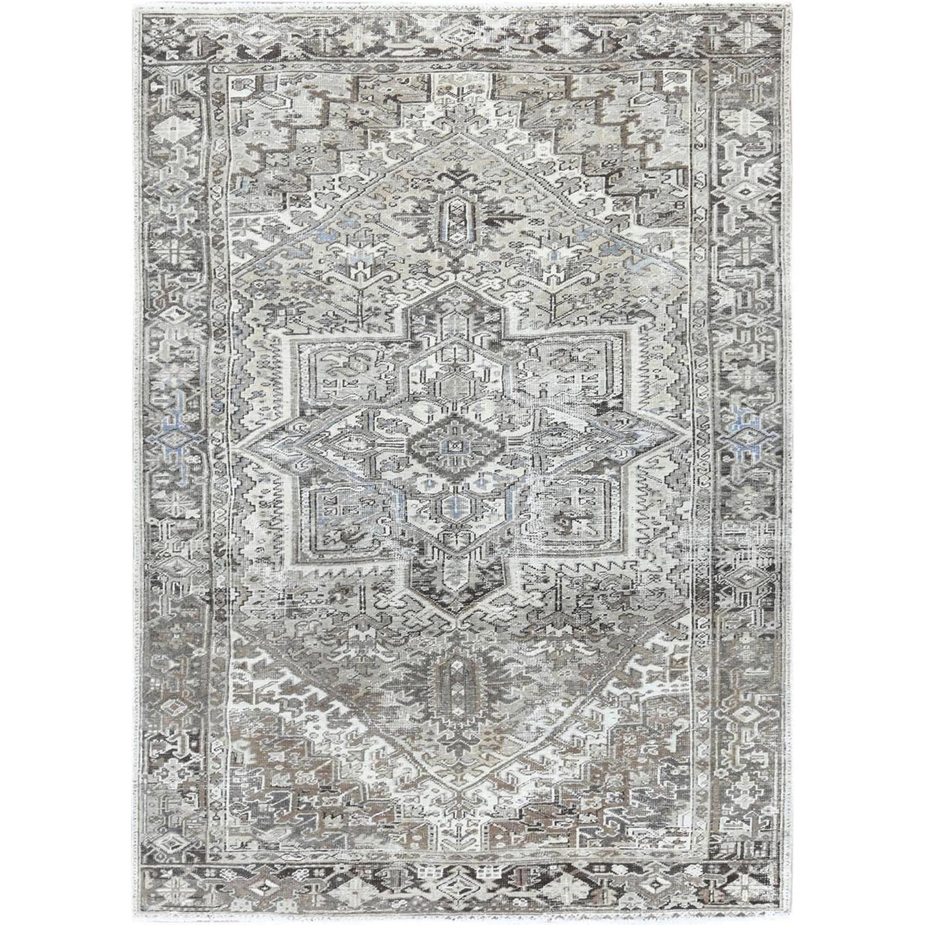 "7'3""x10'5"" Gray Vintage And Worn Persian Heriz Clean Natural Wool Hand Woven Oriental Rug"