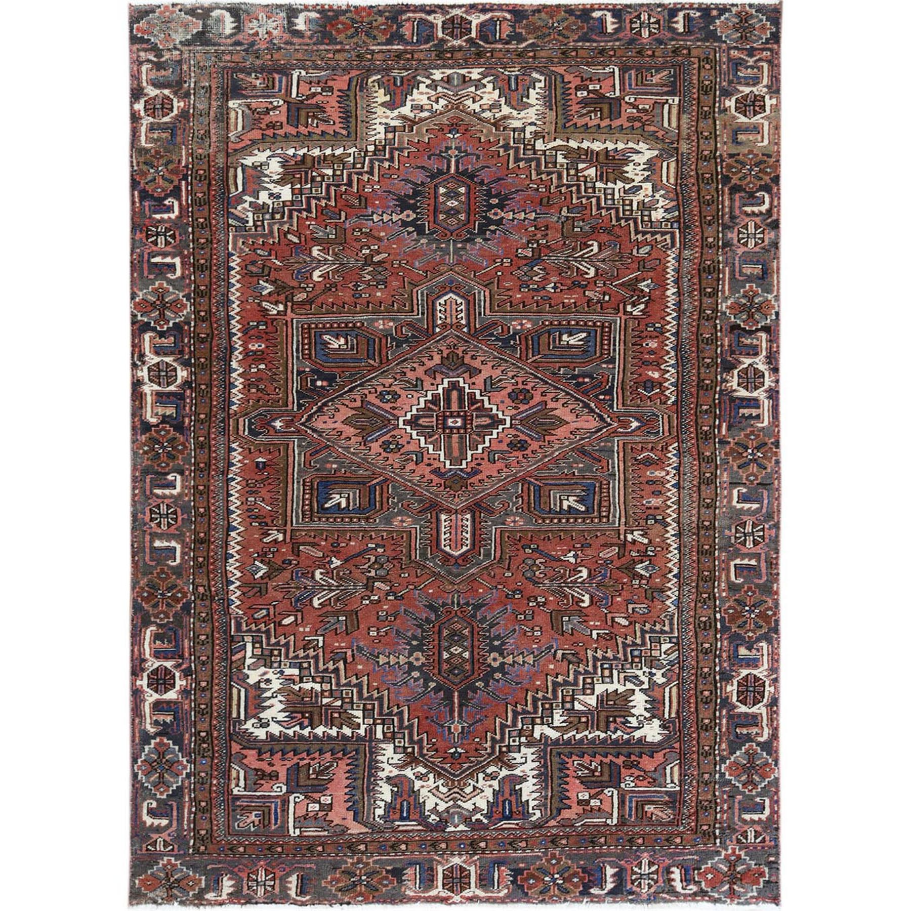 "7'x10'3"" Hand Woven Red Vintage And Worn Persian Heriz Organic Wool Clean Oriental Rug"