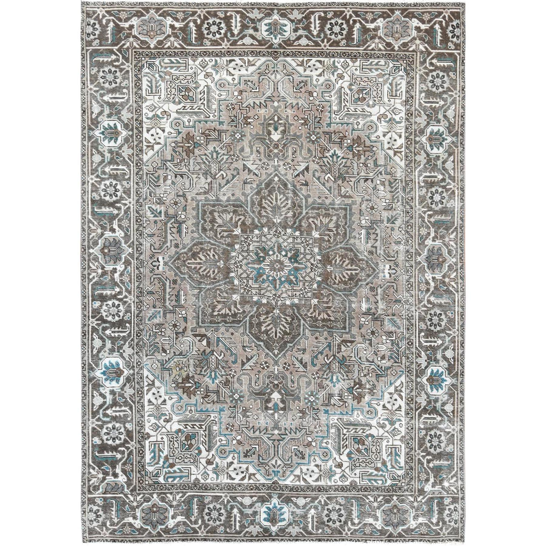 "8'x10'10"" Vintage Taupe Persian Heriz Clean Pure Wool Hand Woven Oriental Rug"