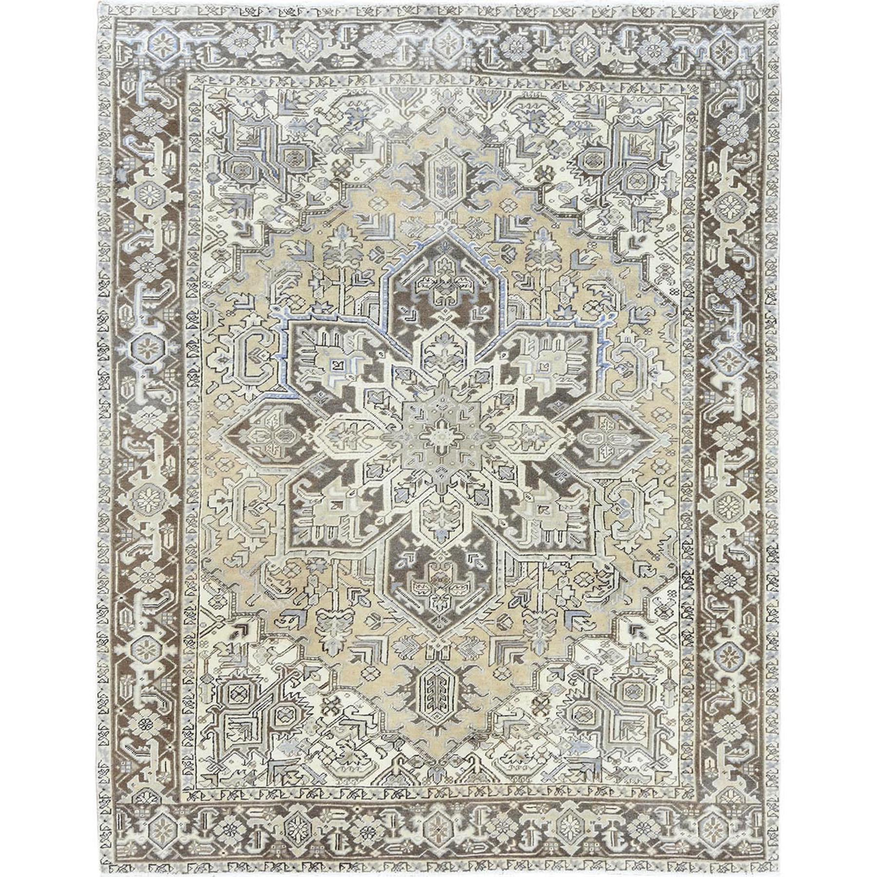 "8'3""x10'6"" Hand Woven Semi Antique Washed Out Beige Persian Heriz Distressed Organic Wool Oriental Rug"