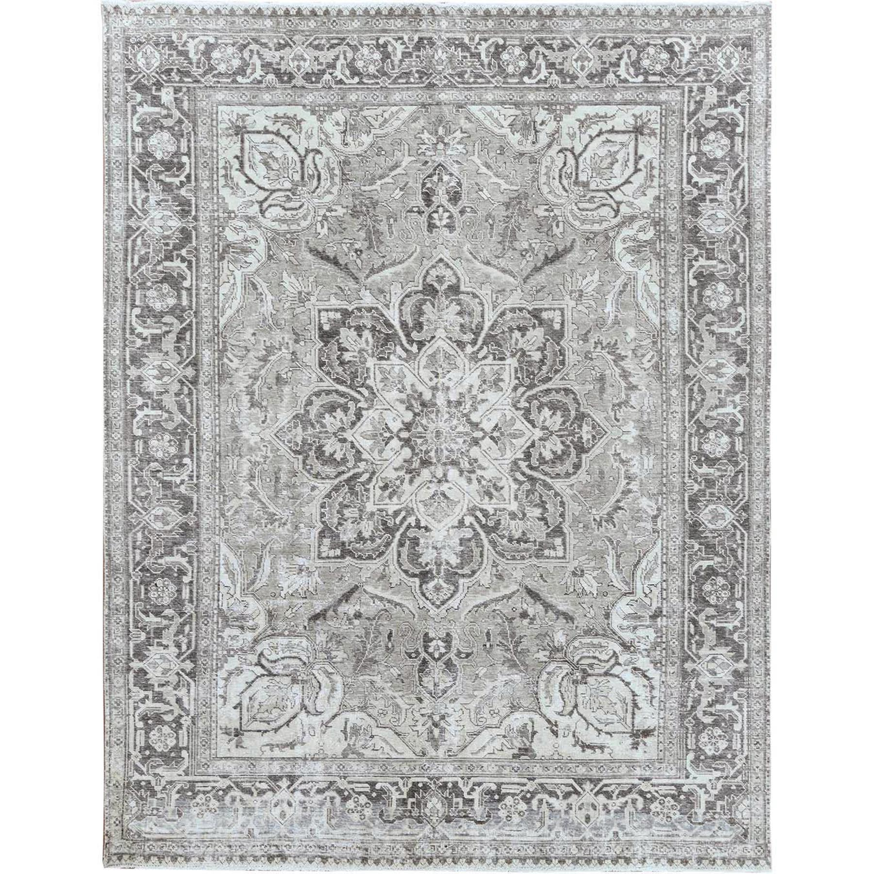 "9'3""x12' Washed Out Gray Persian Heriz Vintage Worn Down Organic Wool Hand Woven Oriental Rug"