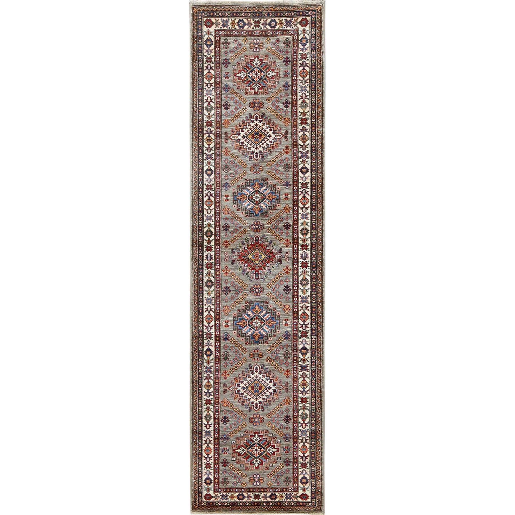 "2'7""x10' Taupe Pure Wool Afghan Super Kazak Hand Woven Runner Oriental Rug"