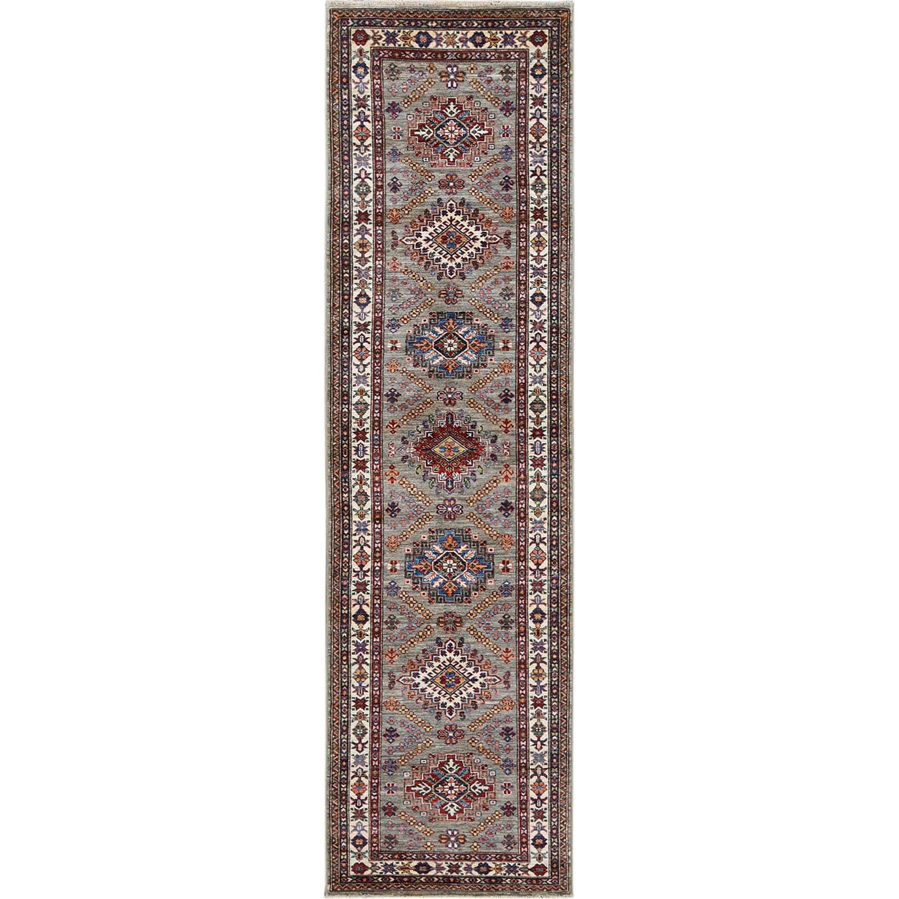 "2'8""x10' Taupe Pure Wool Afghan Super Kazak Hand Woven Runner Oriental Rug"