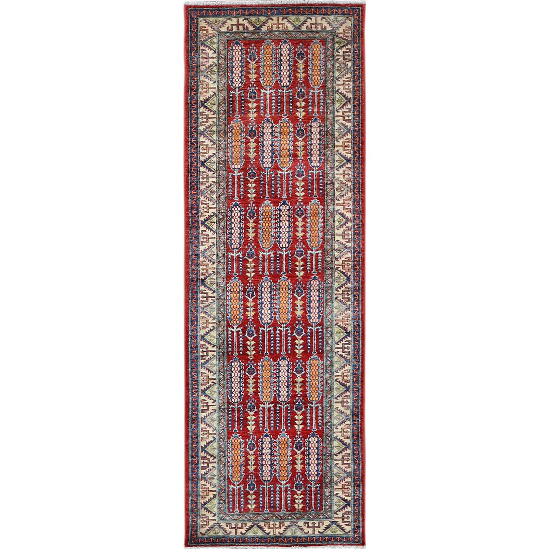 "2'7""x8' Red Afghan Super Kazak with Cypress Tree Design 100% Wool Hand Woven Runner Oriental Rug"