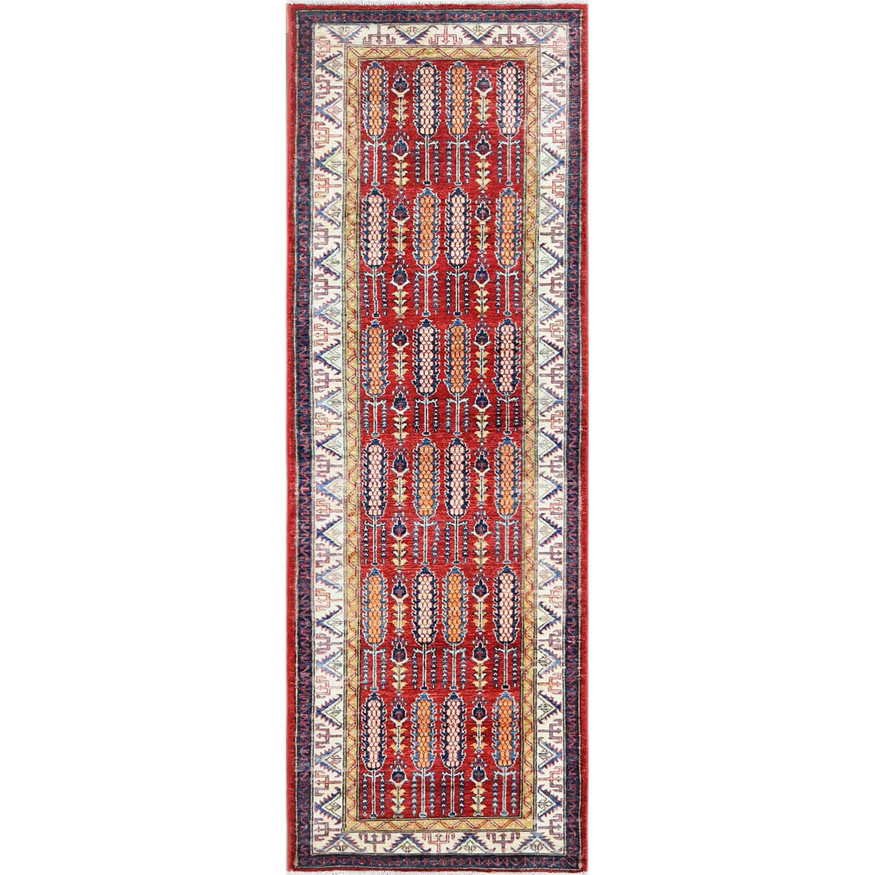"2'8""x8'2"" Red Afghan Super Kazak with Cypress Tree Design Pure Wool Hand Woven Runner Oriental Rug"