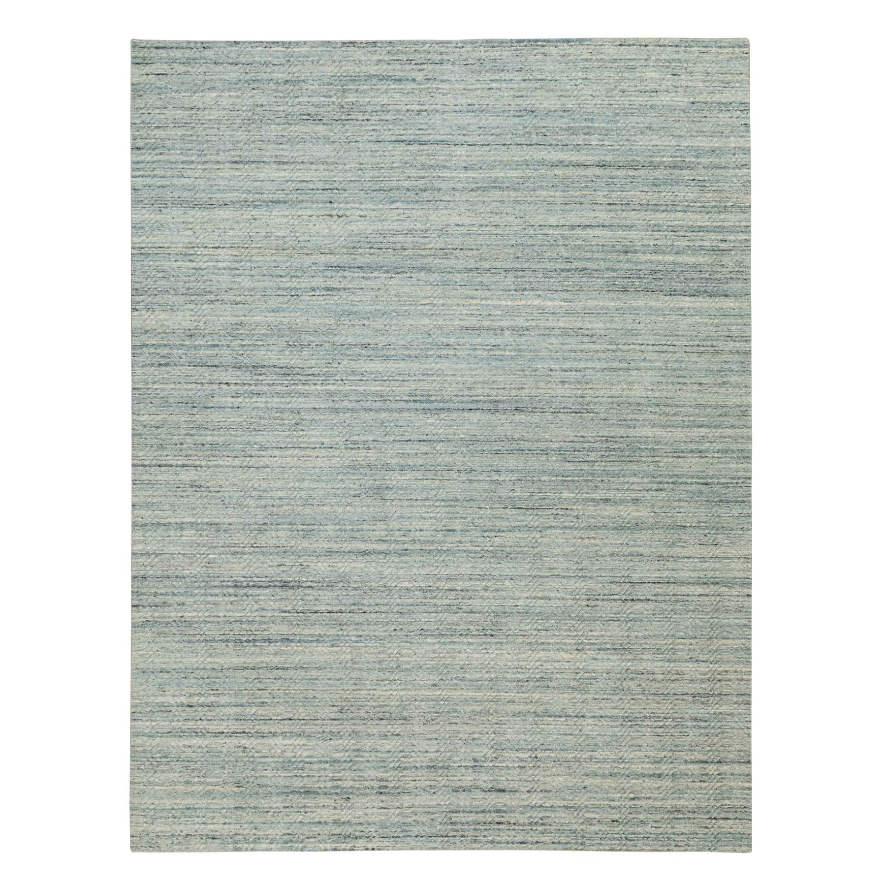 "9'x11'10"" Green Hand Loomed Variegated Textured Design Organic Wool Transitional Oriental Rug"