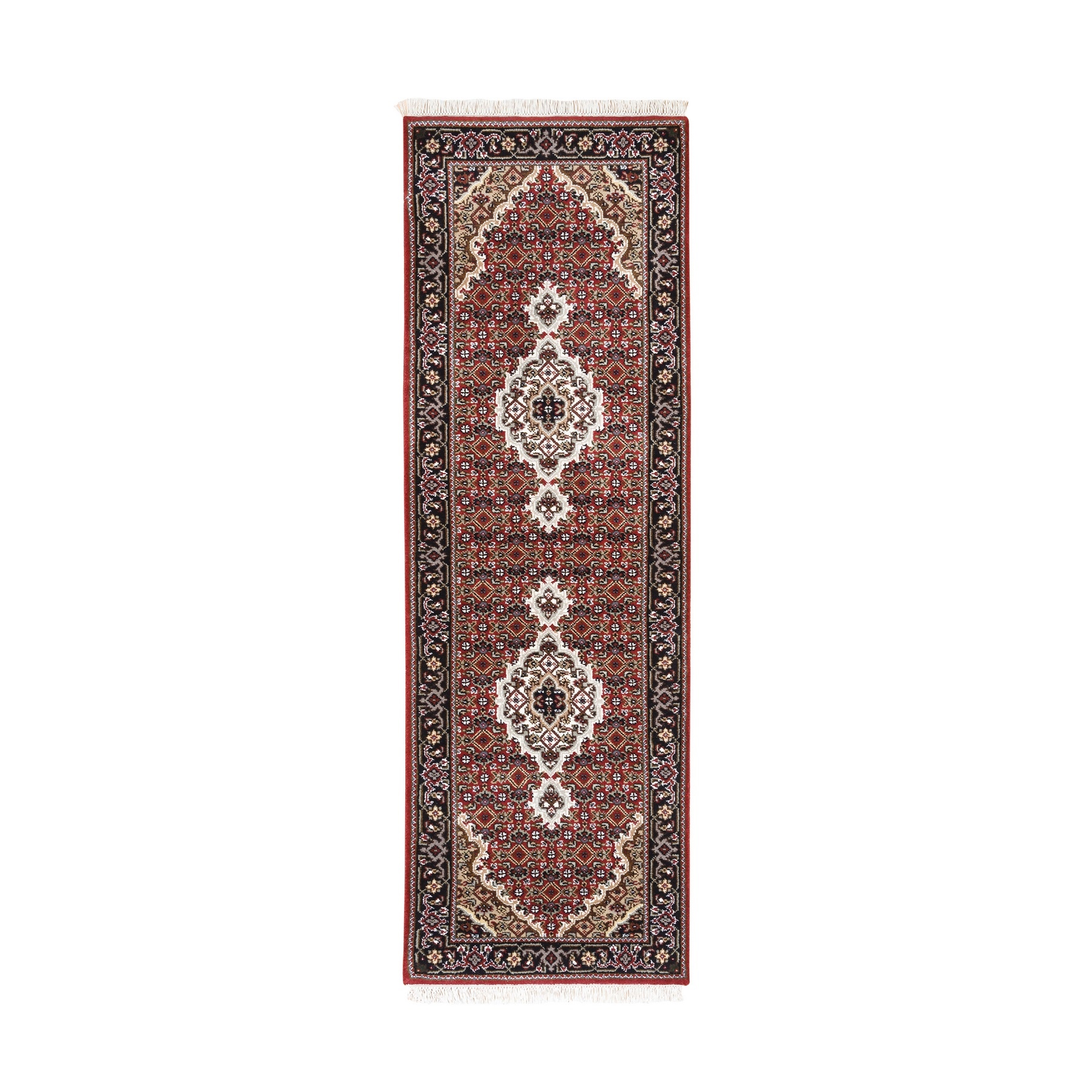 2'x6' Red Tabriz Mahi Fish Medallion Design Wool And Silk Hand Woven Oriental Runner Rug