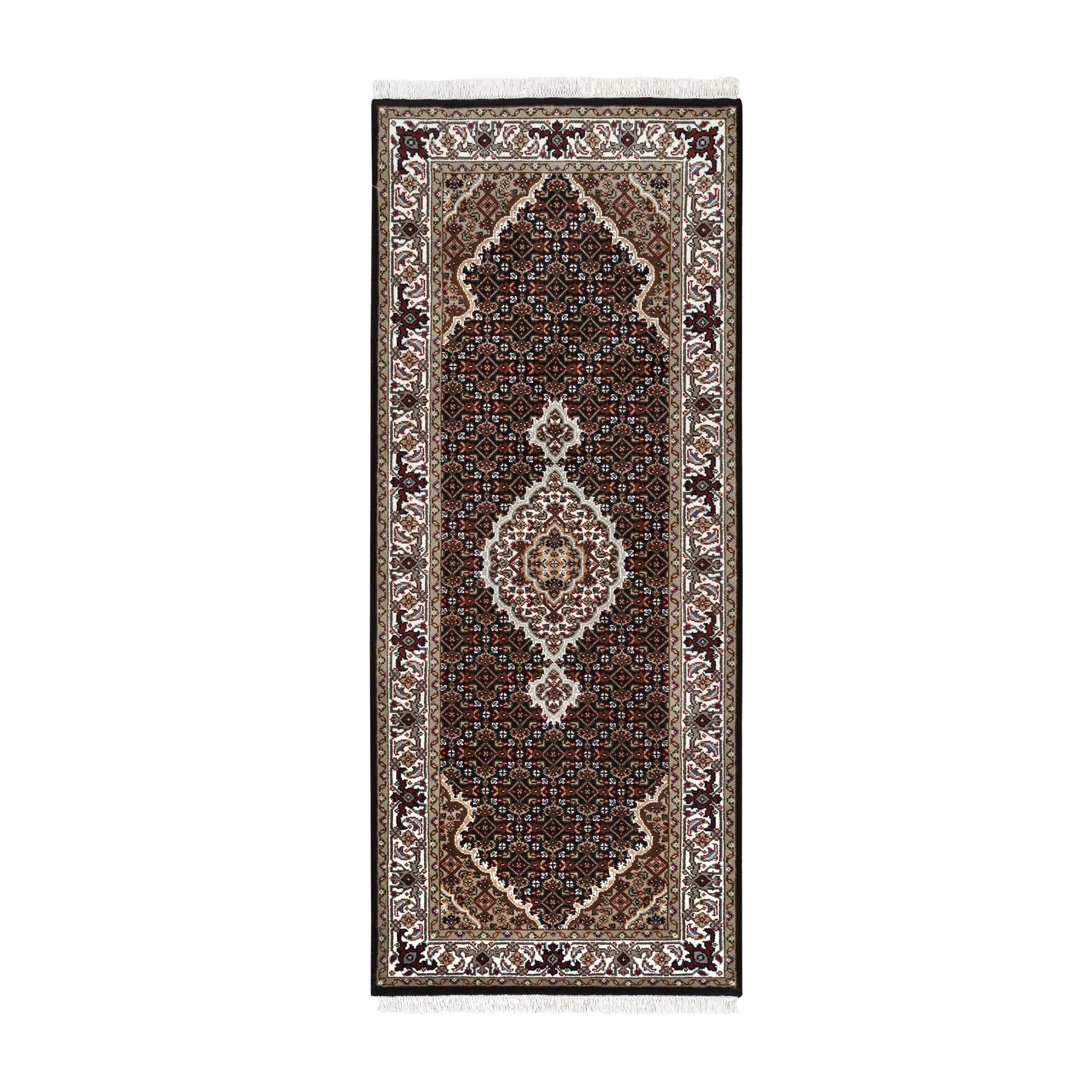 "2'7""x6'2"" Hand Woven Black Wool And Silk Fish Medallion Design Tabriz Mahi Oriental Runner Rug"