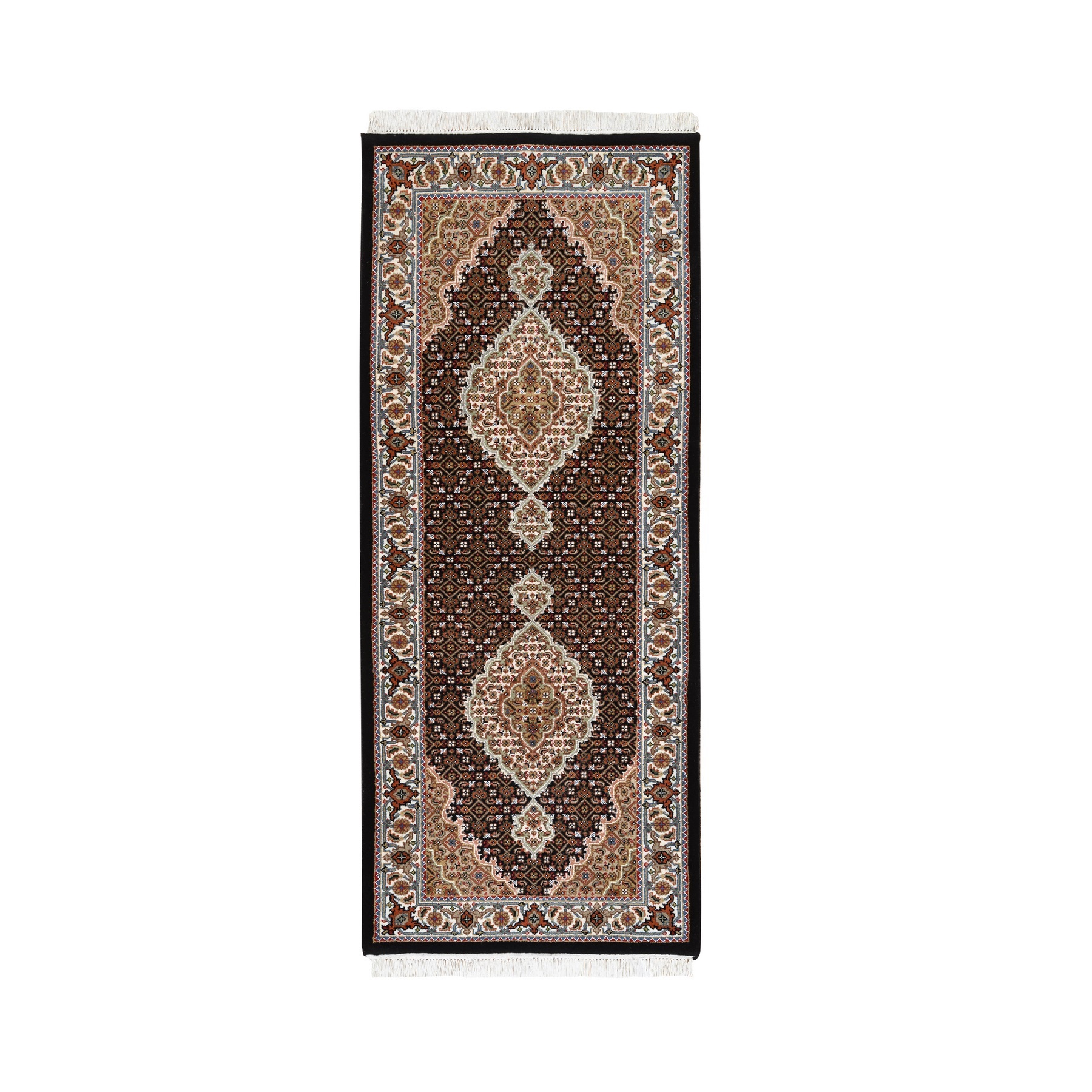 "2'7""x6'6"" Hand Woven Fish Medallion Design Tabriz Mahi Wool And Silk Oriental Runner Rug"