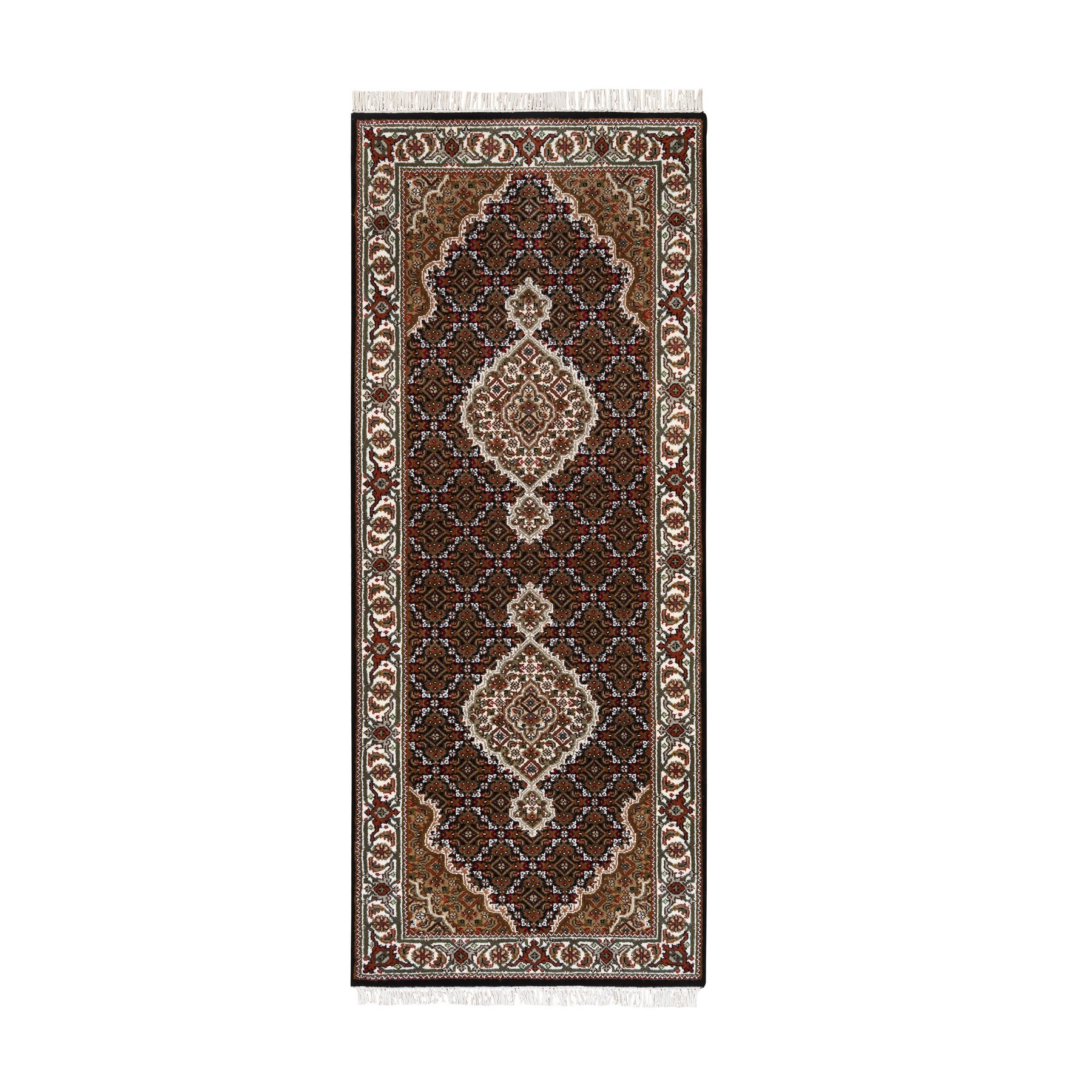 "2'8""x6'1"" Hand Woven Fish Medallion Design Tabriz Mahi Black Wool And Silk Oriental Runner Rug"
