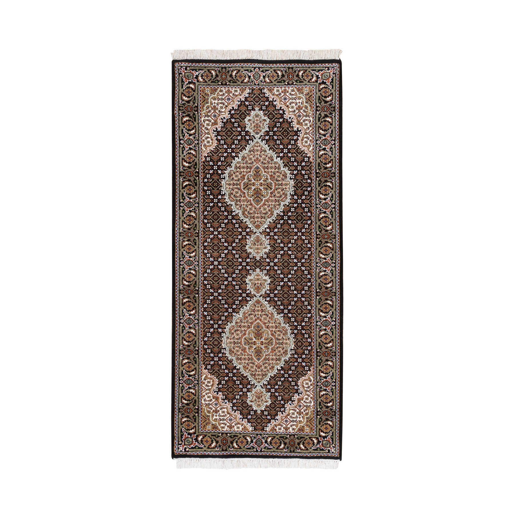 "2'8""x6'6"" Wool And Silk Fish Medallion Design Tabriz Mahi Black Hand Woven Oriental Runner Rug"