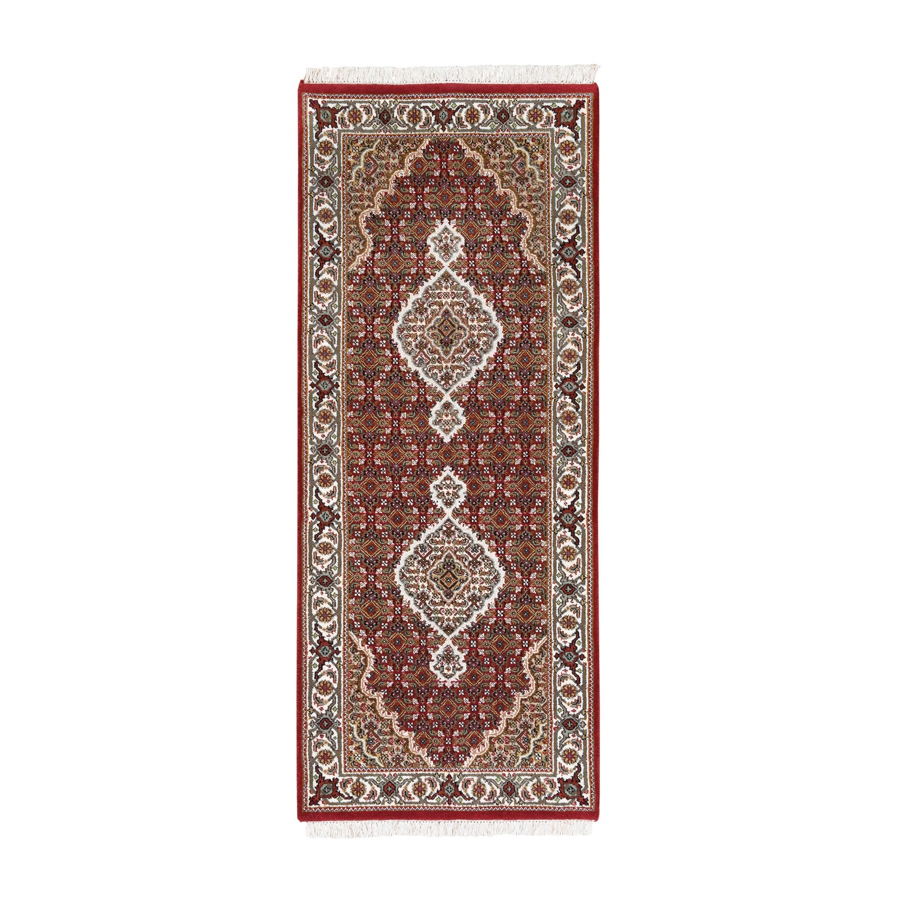 "2'7""x6'8"" Hand Woven Red Tabriz Mahi Fish Medallion Design Wool And Silk Oriental Runner Rug"