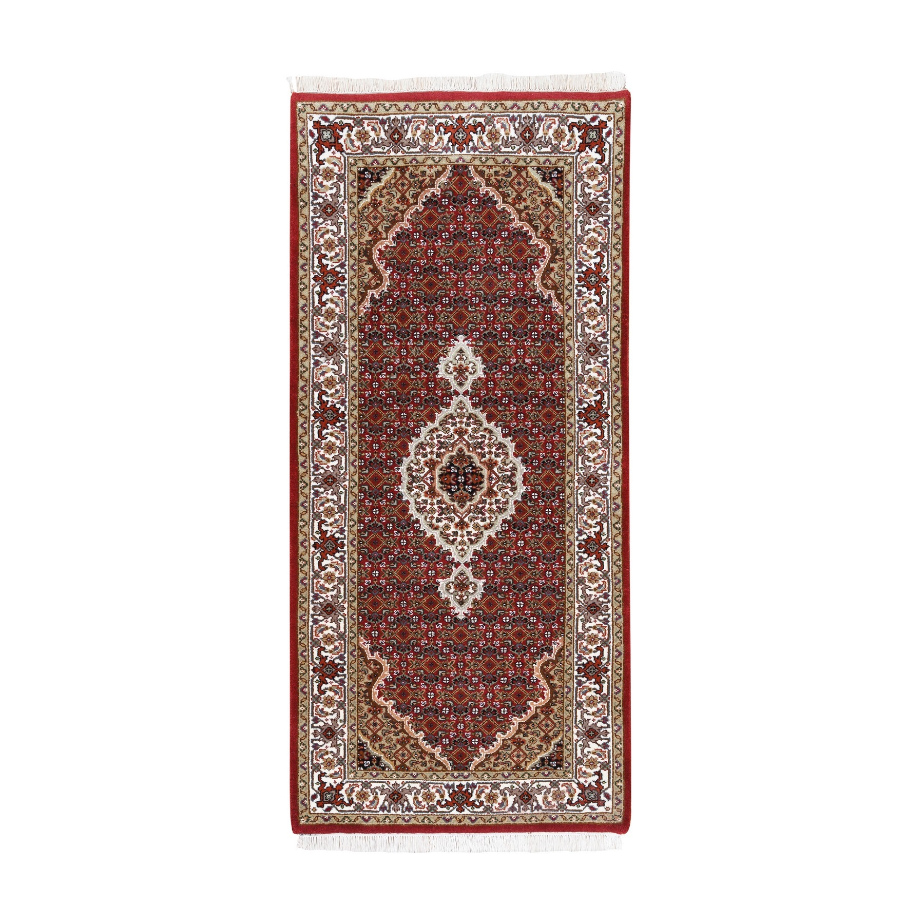 "2'7""x6' Wool And Silk Fish Medallion Design Tabriz Mahi Red Hand Woven Oriental Runner Rug"