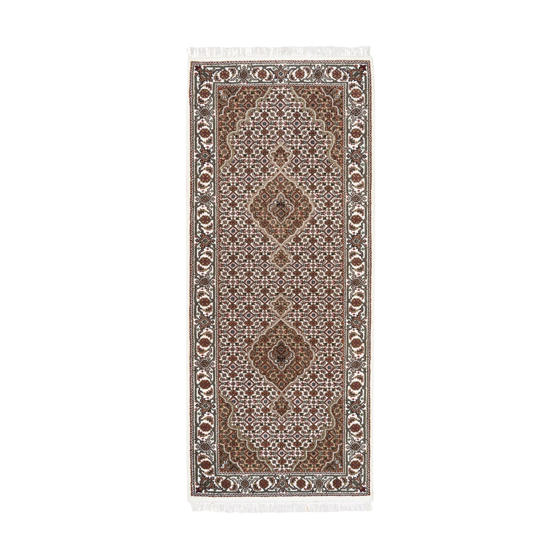 "2'8""x6'9"" Hand Woven Ivory Wool And Silk Fish Medallion Design Tabriz Mahi Oriental Runner Rug"
