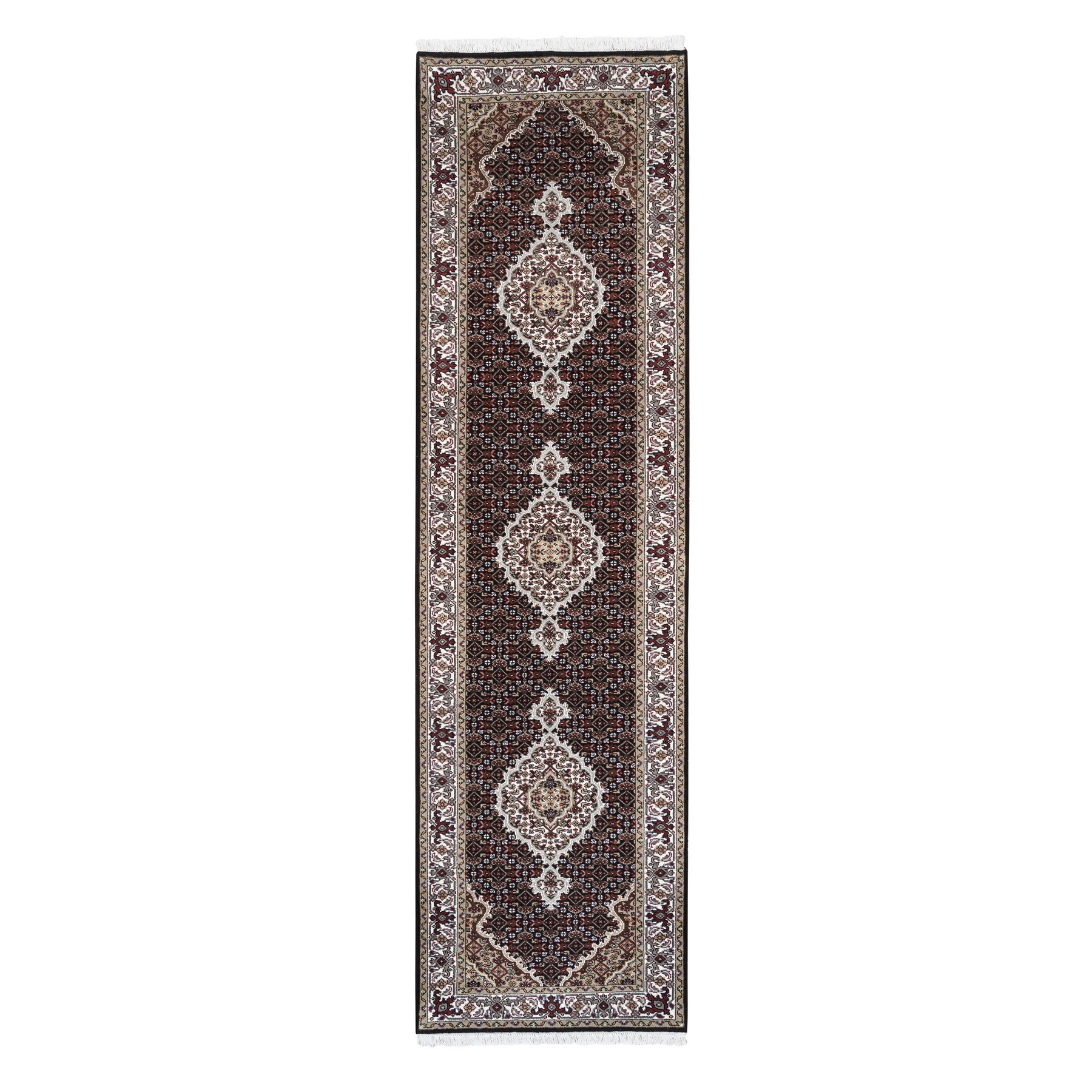 "2'9""x10' Hand Woven Black Wool And Silk Fish Medallion Design Tabriz Mahi Oriental Runner Rug"