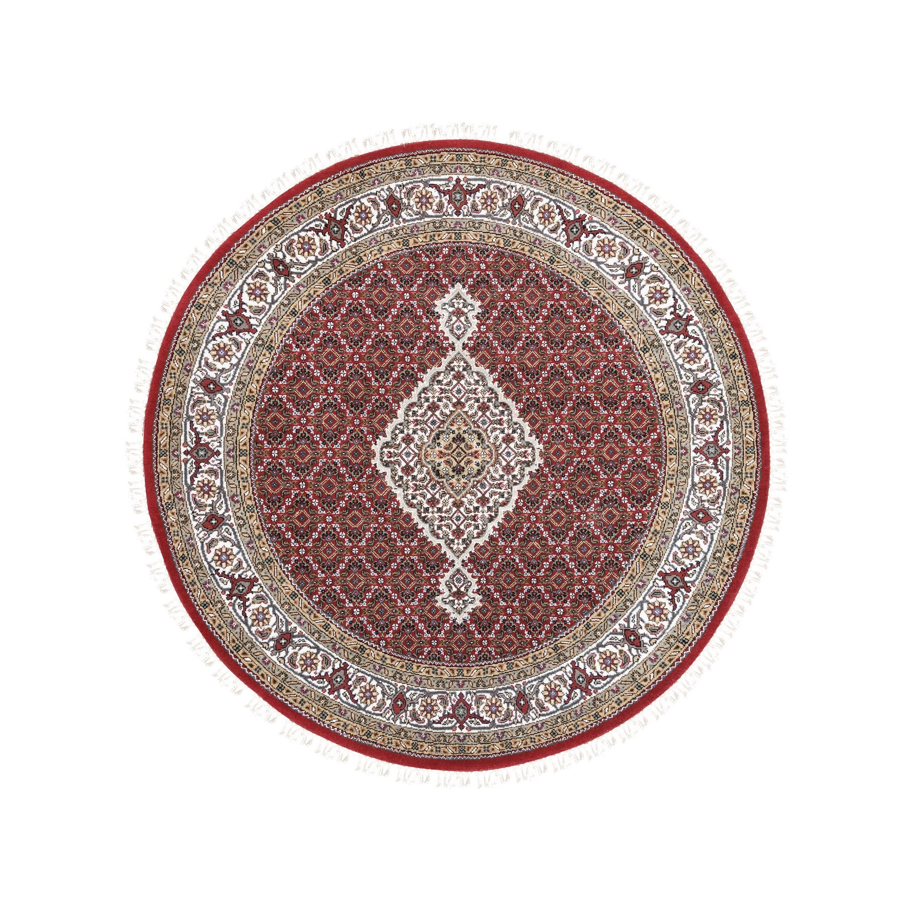 "5'1""x5'1"" Wool And Silk Fish Medallion Design Tabriz Mahi Red Hand Woven Oriental Round Rug"