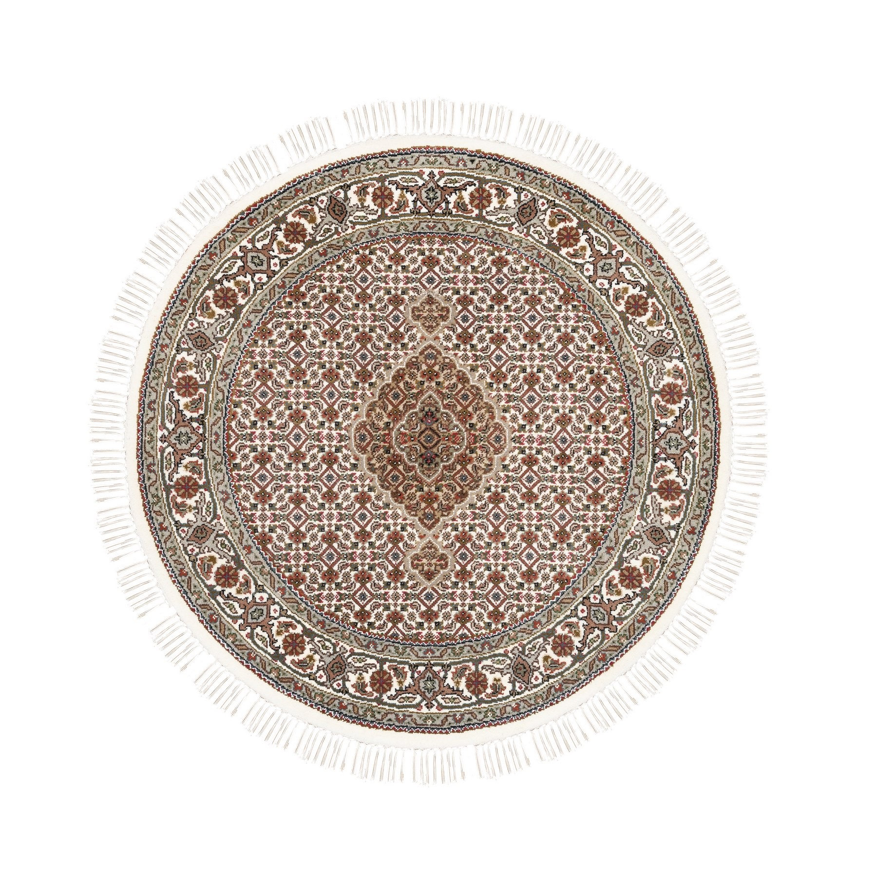 "4'1""x4'1"" Hand Woven Fish Medallion Design Tabriz Mahi Ivory Wool And Silk Oriental Round Rug"