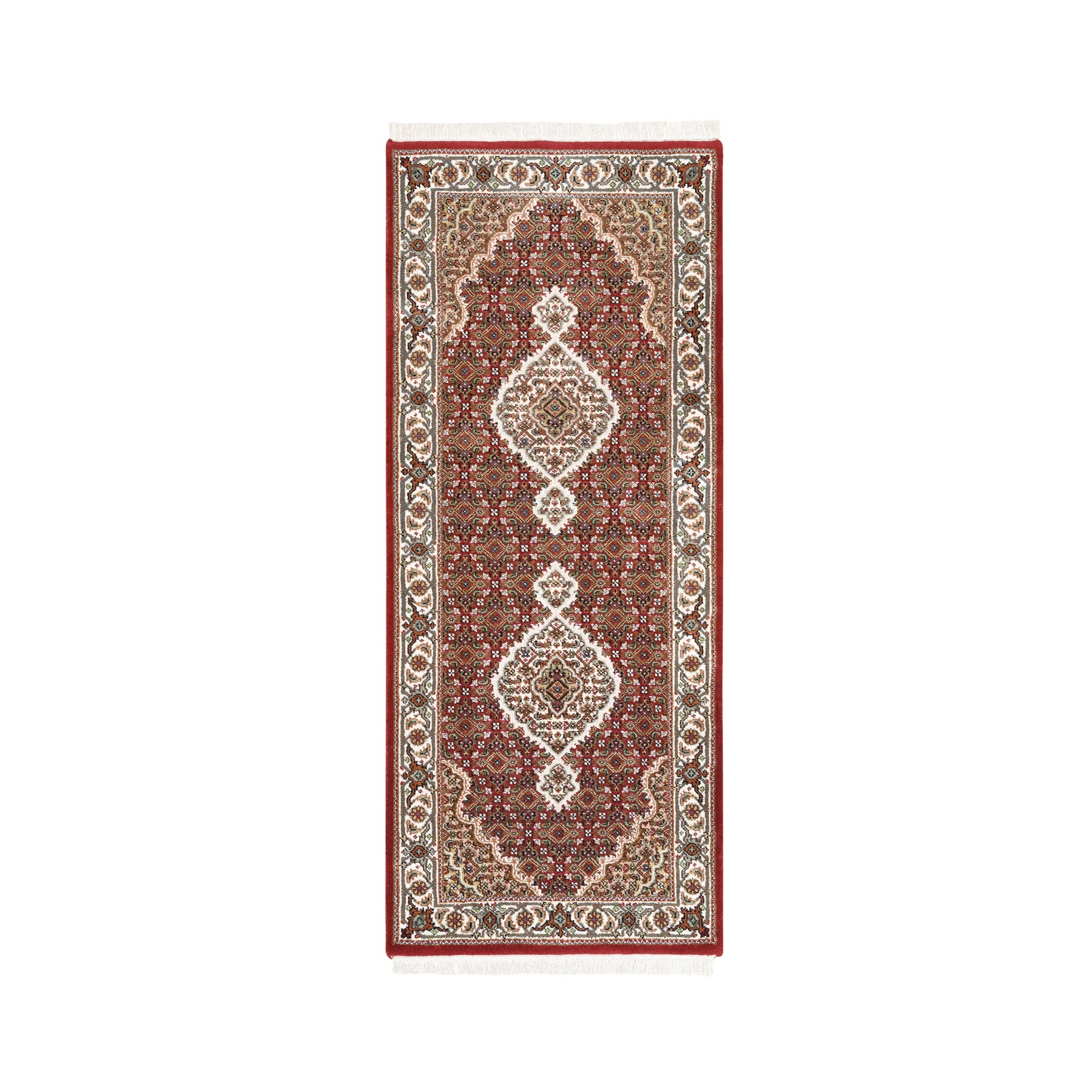 "2'8""x6'6"" Wool And Silk Fish Medallion Design Tabriz Mahi Red Hand Woven Oriental Runner Rug"