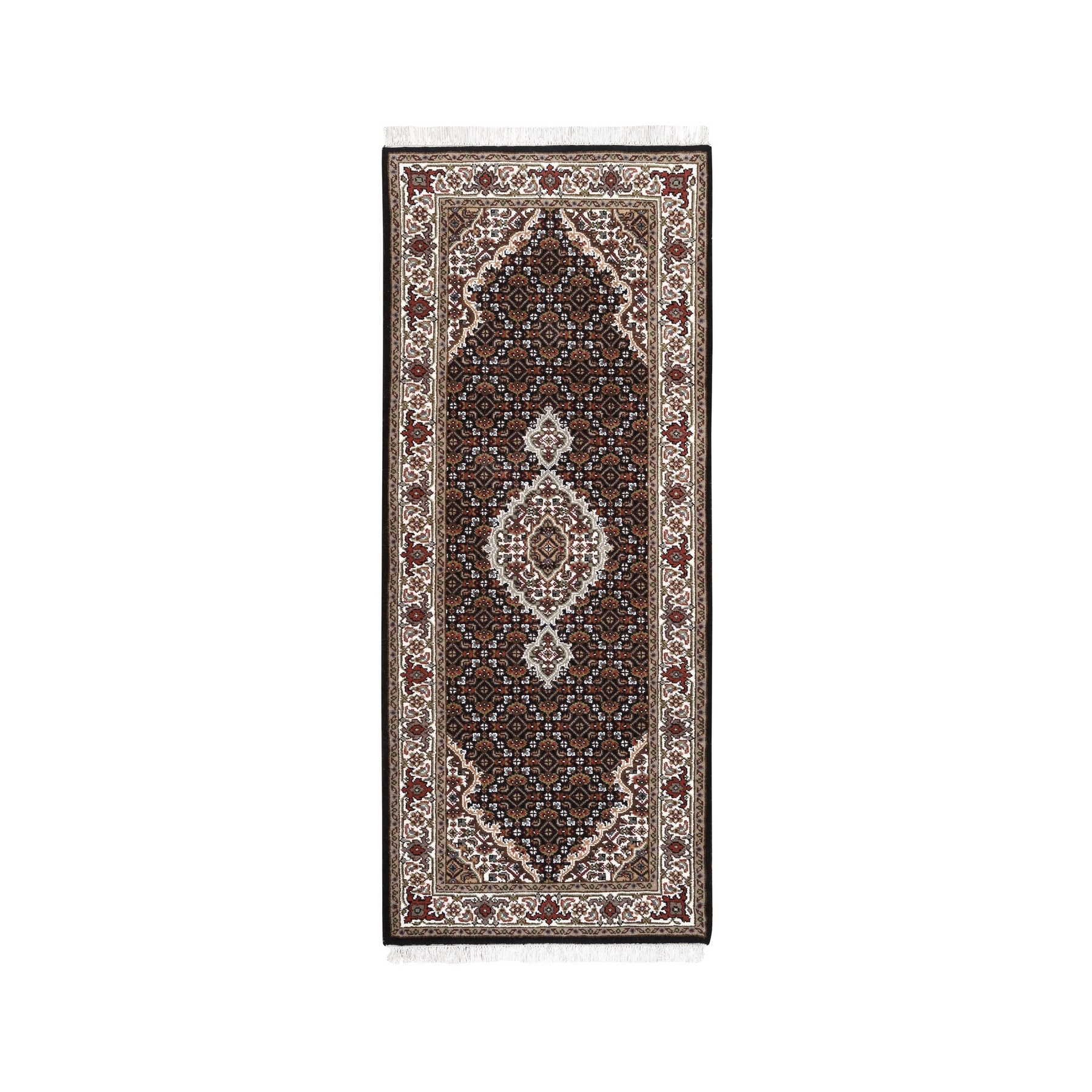 "2'6""x6'1"" Black Wool And Silk Fish Medallion Design Tabriz Mahi Hand Woven Oriental Runner Rug"