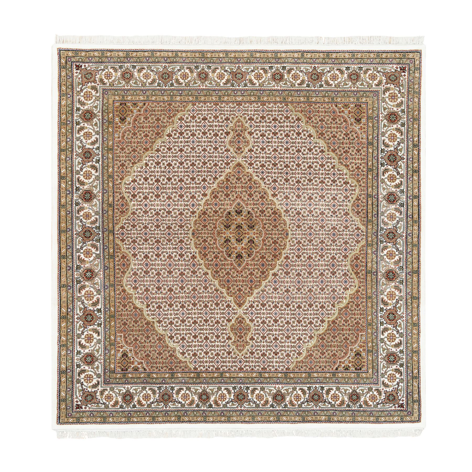 "6'9""x6'9"" Ivory Wool And Silk Fish Medallion Design Tabriz Mahi Hand Woven Square Oriental Rug"