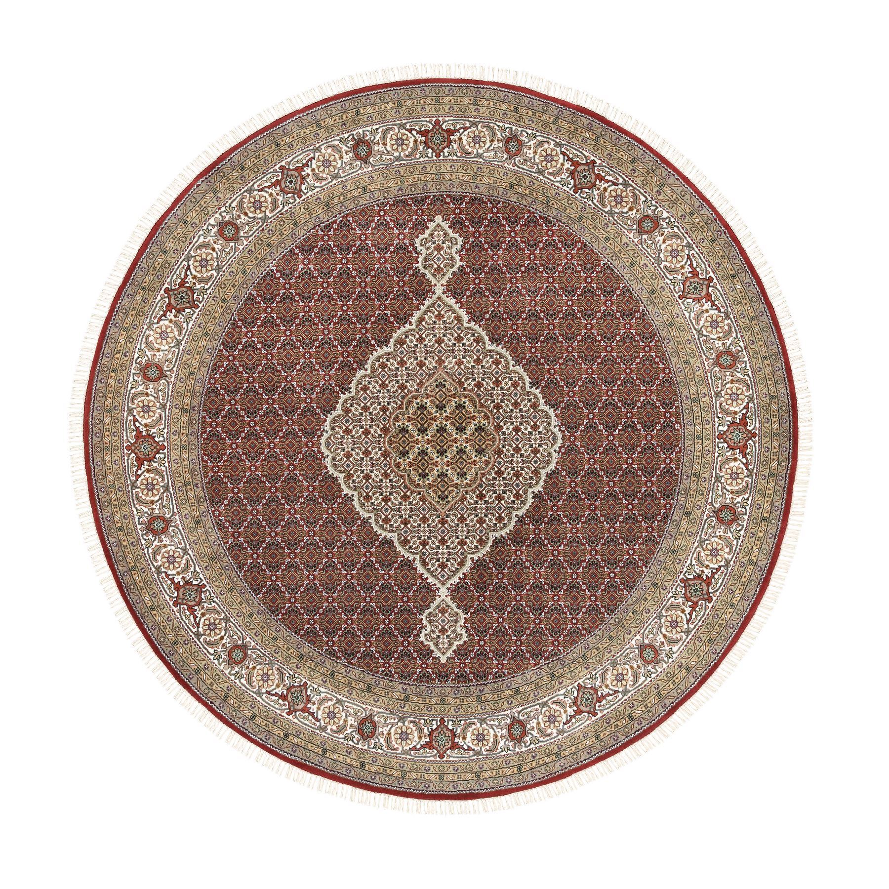 "8'4""x8'4"" Round Hand Woven Red Fish Medallion Design Tabriz Mahi Wool And Silk Oriental Rug"