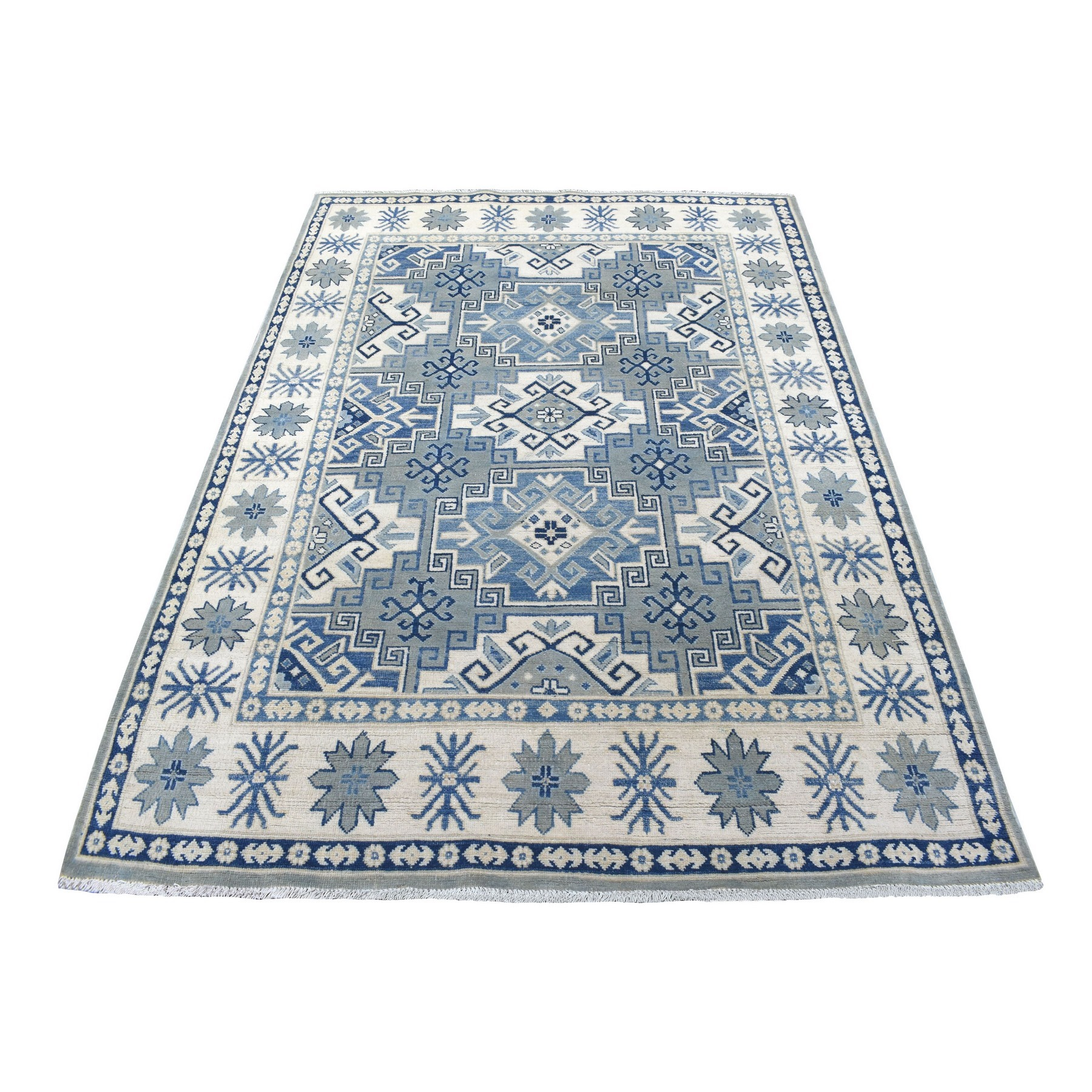 "5'x6'10"" Gray Vintage Look Kazak Geometric Design Hand Woven Natural Wool Oriental Rug"