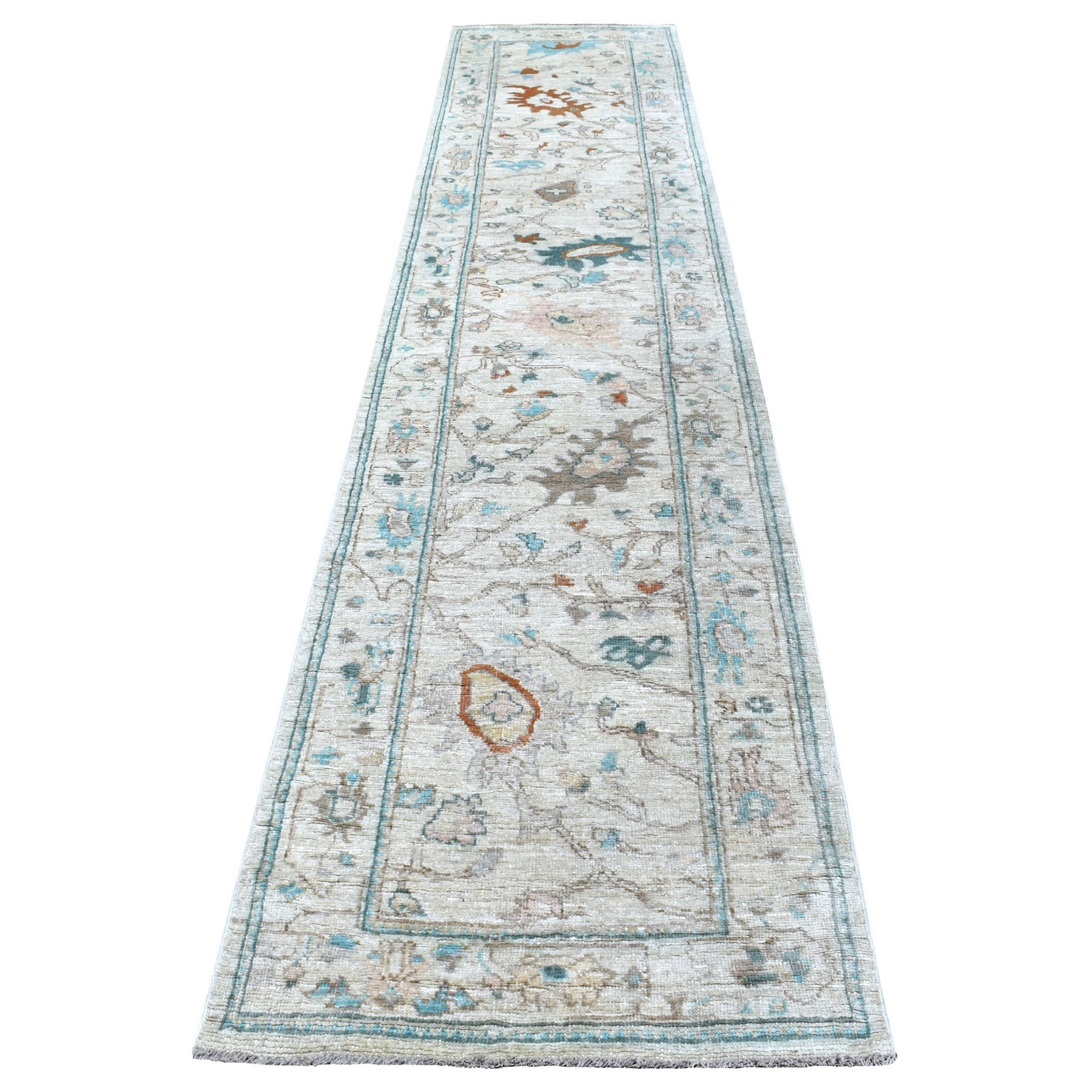"2'9""x13'4"" Angora Oushak Hand Woven Pliable Wool Light Gray With Floral Motifs Oriental Runner Rug"