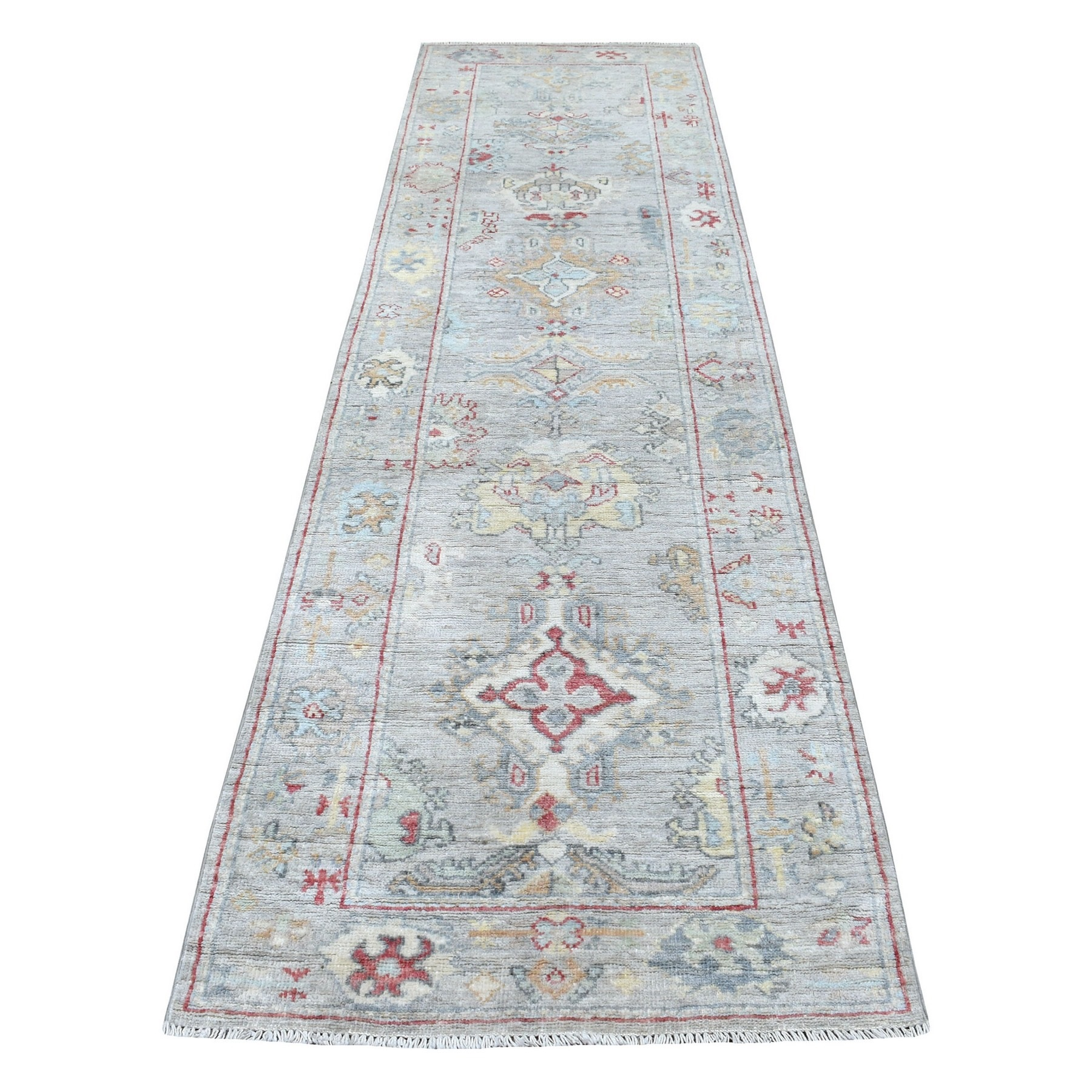 "3'x10'4"" Light Gray Hand Woven Soft And Supple Wool Angora Oushak With Soft Colors Oriental Runner Rug"