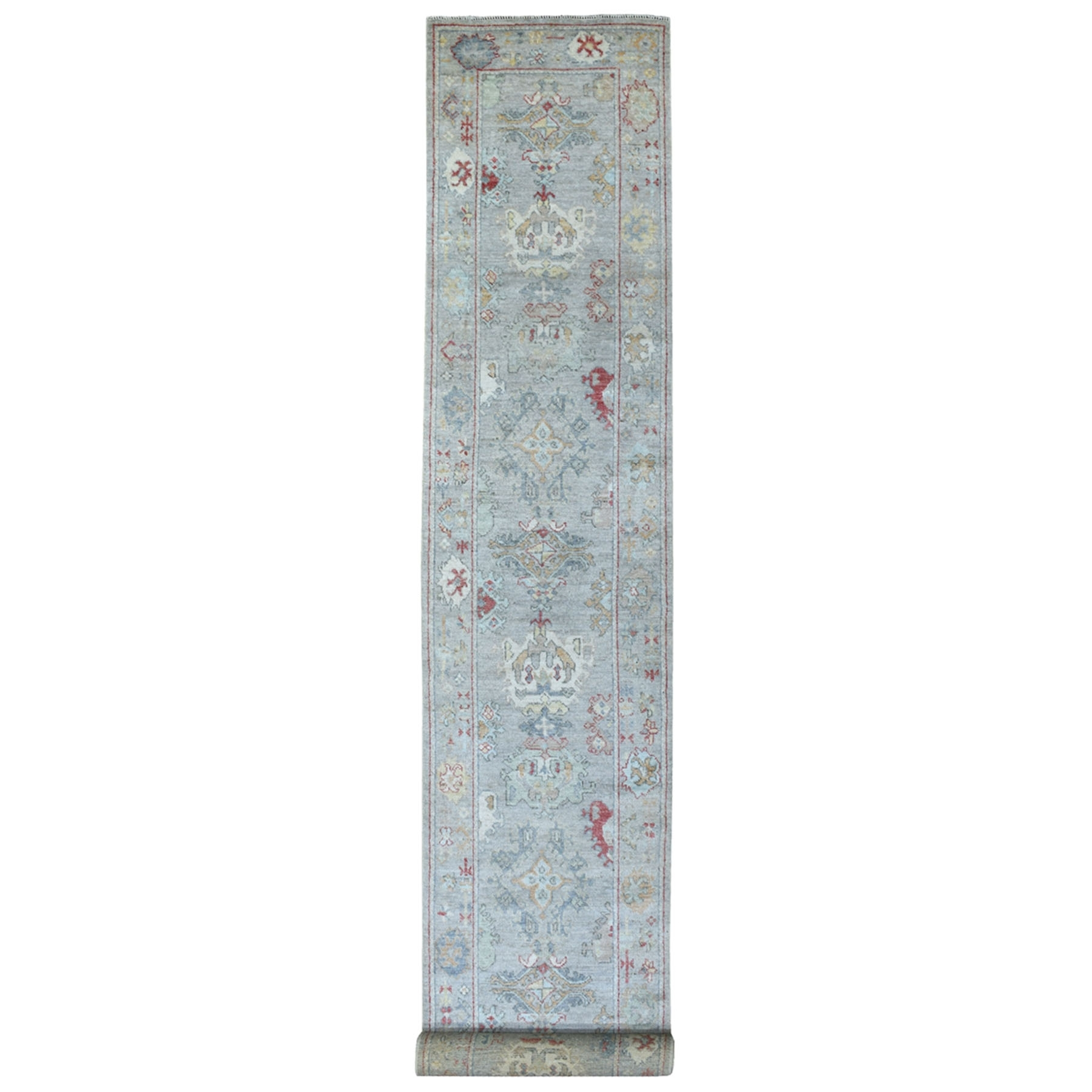 "2'10""x19'8"" Hand Woven Angora Oushak Silver Blue Soft Vibrant Wool With Soft Colors Oriental XL Runner Rug"