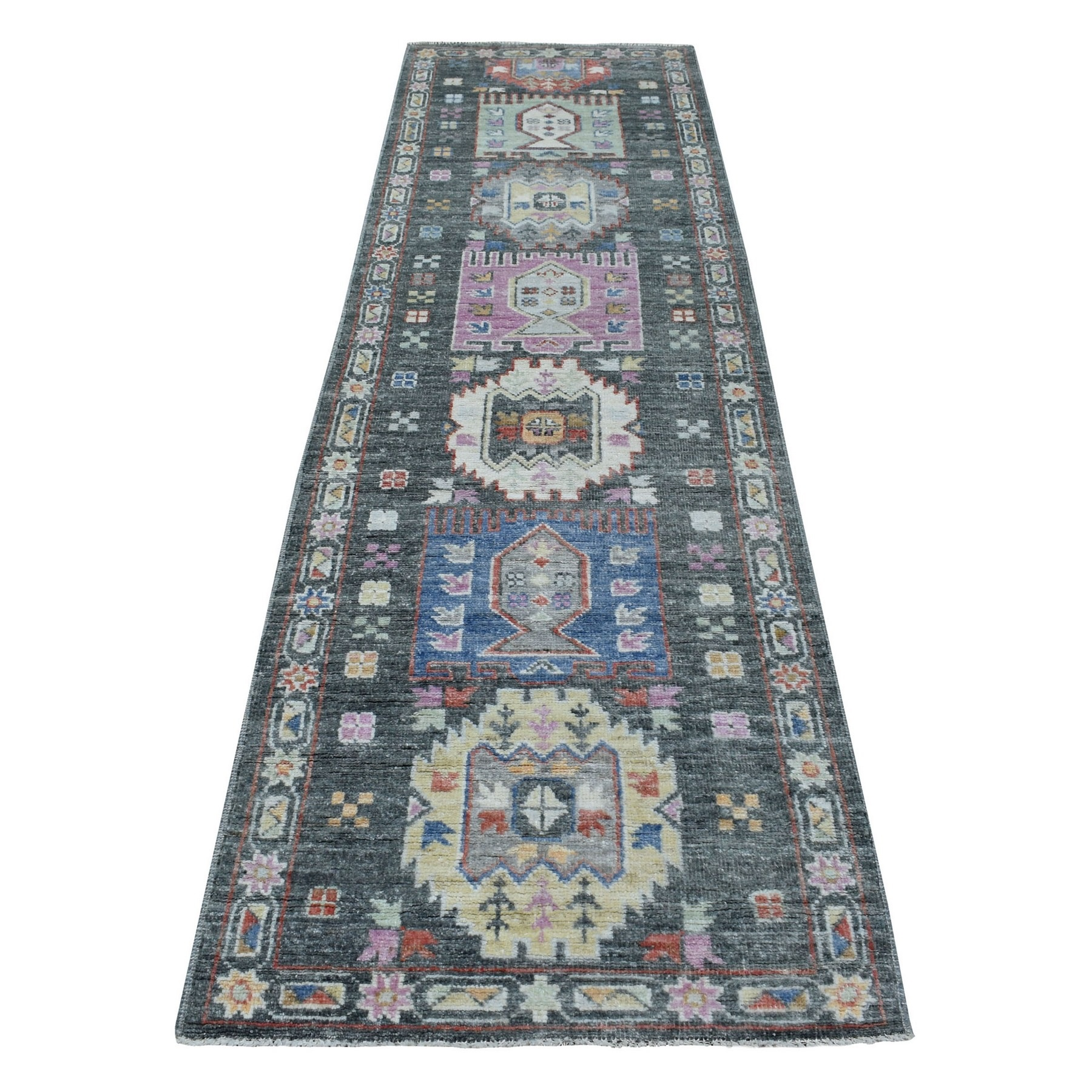 "2'10""x9'10"" Hand Woven Dark Gray With Geometric Village Anatolian Design Angora Oushak Glimmery Wool Oriental Runner Rug"