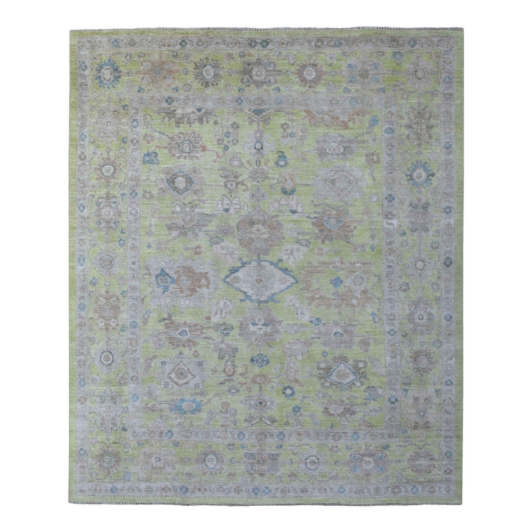 "8'3""x9'9"" Light Green With Soft Colors Hand Woven Glimmery Wool Angora Oushak Oriental Rug"