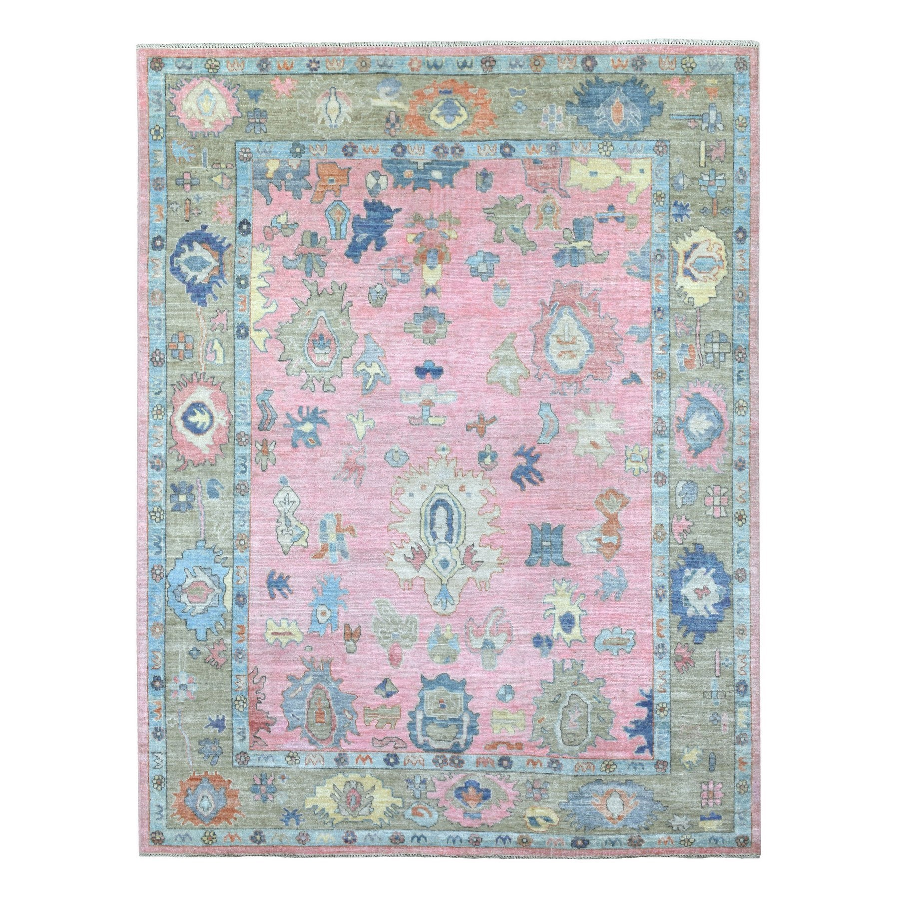"7'10""x10'4"" Hand Woven Pure Velvety Wool Angora Oushak Pink With Colorful Motifs Oriental Rug"