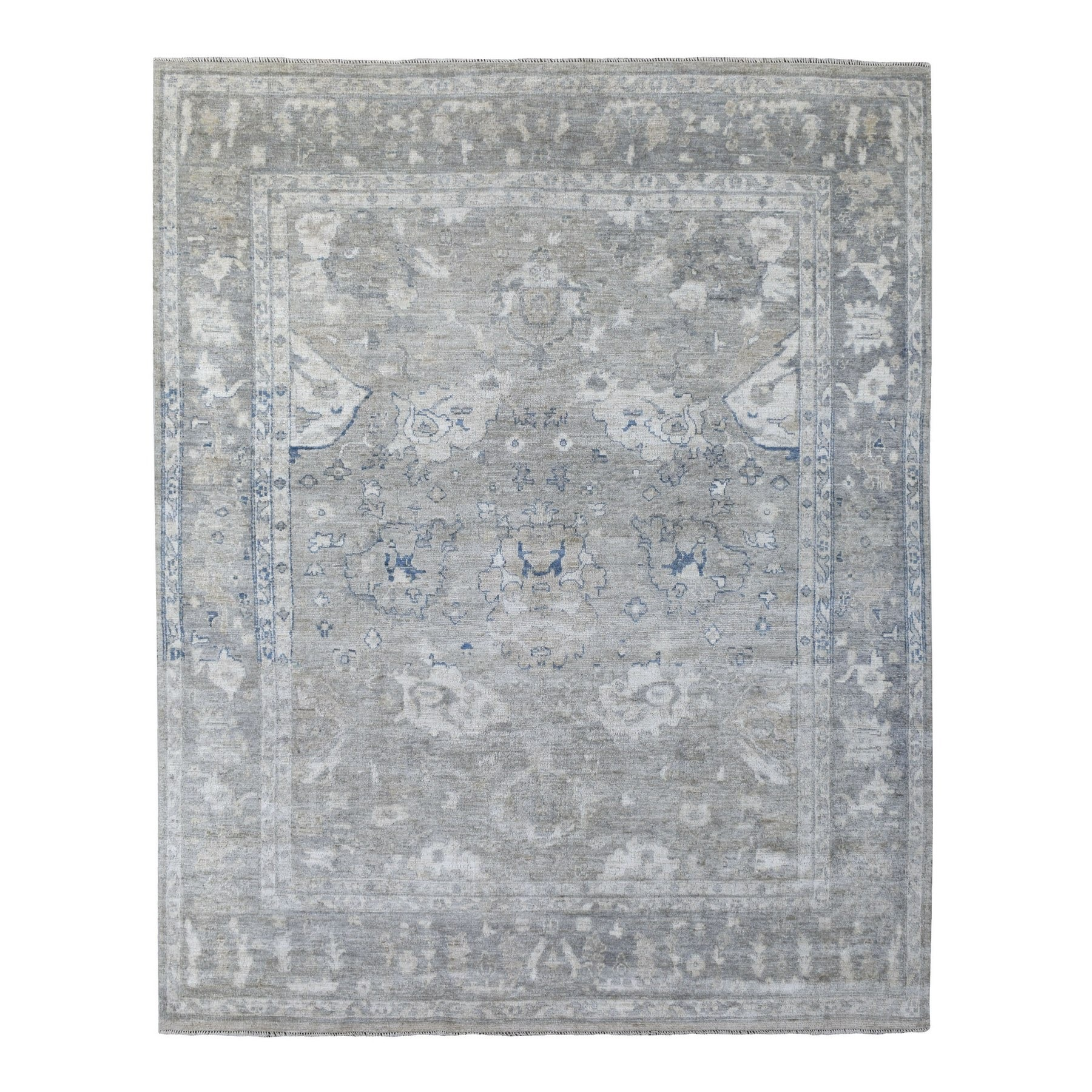 "8'x9'9"" Hand Woven Light Gray With Soft Colors Pliable Wool Angora Oushak Oriental Rug"