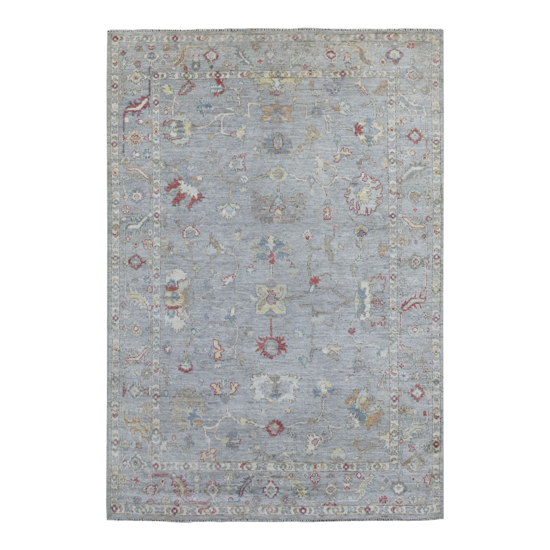 "6'x8'8"" Gray Angora Oushak With Little Motifs Hand Woven Natural Wool Oriental Rug"
